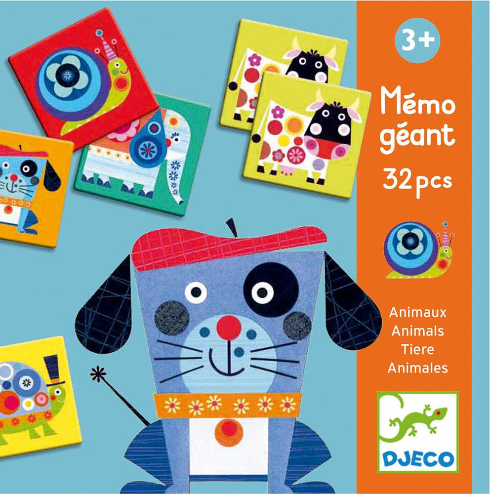 Настольная игра Djeco Животные08103Настольная игра Djeco Животные для самых маленьких на развитие памяти. Классическая игра - мемори выполнена в крупном формате, что невероятно удобно для первых игр вашего малыша. На больших карточках помещены крупные изображения ярких животных, которые легко запоминать и так интересно рассматривать.