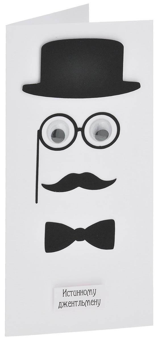 Открытка ручной работы Истинному джентльмену, с конвертом. Автор Татьяна Саранчукова. B-028B-028Открытка ручной работы Истинному джентльмену станет оригинальным дополнением вашего подарка. Открытка изготовлена из дизайнерской плотной бумаги. Лицевая сторона оформлена декоративными элементами в виде шляпы, лорнета, глаз с бегающими зрачками, усов и галстука-бабочки. Внутри открытка не содержит текста, что позволит вам самостоятельного его придумать. Также имеется вкладыш с поздравлением в стихах. Открытка непременно порадует получателя и станет отличным напоминанием о проведенном вместе времени. В комплект входит белый конверт. Открытка упакована в пакет для сохранности. Размер открытки: 10 см х 20 см. Размер конверта: 11 см х 22 см.