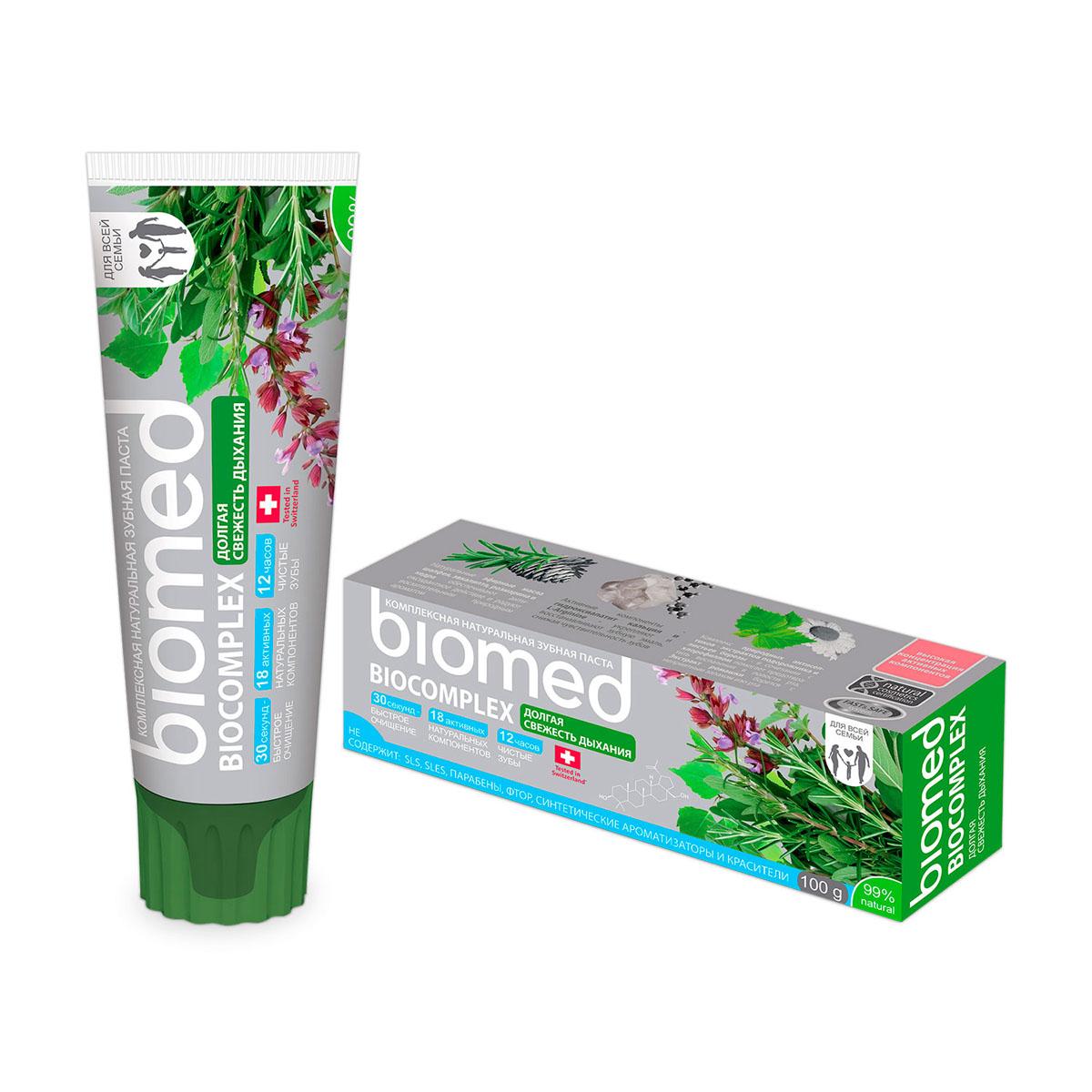 Biomed Зубная паста Biocomplex / Биокомплекс, 100 гБИ-191Комплекс природных антисептиков предотвращает воспаления в полости рта. Долгая свежесть дыхания. Особенности состава: Не содержит: SLS, фтор, хим. отбеливающие компоненты, синтетические ароматизаторы, красители и продукты животного происхождения..