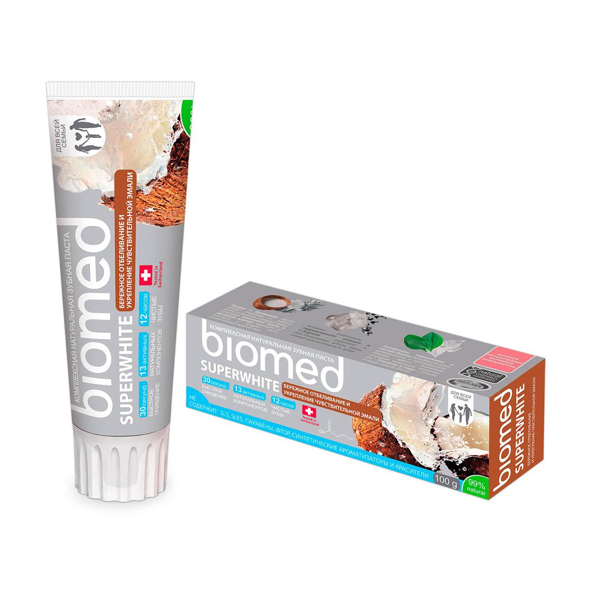 Biomed Зубная паста Superwhite / Супервайт, 100 гСУ-192Бережное отбеливание и укрепление чувствительной эмали с маслом кокоса. Особенности состава: Не содержит: SLS, фтор, хим. отбеливающие компоненты, синтетические ароматизаторы, красители и продукты животного происхождения..