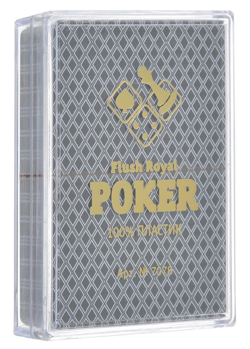 Карты игральные Компания Игра Flush Royal Poker, джамбо индекс, цвет: черный, 54 карты. 70787078Игральные карты Flush Royal Poker выполнены из высококачественного пластика. Рубашка - черного цвета. Карты имеют классическое оформление, джамбо (увеличенный) индекс и покерный размер. Изделие хранится в фирменной пластиковой коробке.