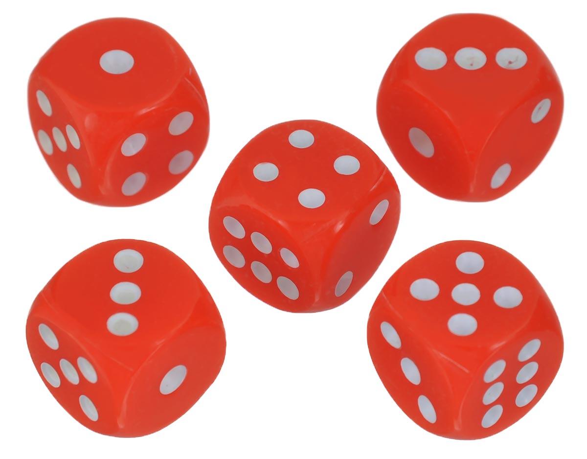 Набор игральных костей Компания Игра, 10 мм, цвет: красный, 5 шт