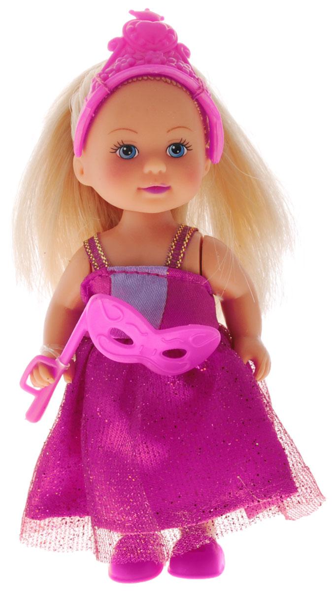 Simba Мини-кукла Еви-принцесса5733460Мини-кукла Simba Еви-принцесса порадует любую девочку и позволит ей окунуться в сказочный мир волшебства. Малышка Еви одета в длинное платье принцессы, украшенное блестками, а на голове у нее - изящная тиара. Вашей дочурке непременно понравится заплетать длинные белокурые волосы куклы, придумывая разнообразные прически. В комплект также входит маскарадная маска для куклы. Руки, ноги и голова куклы подвижны, благодаря чему ей можно придавать разнообразные позы. Игры с куклой способствуют эмоциональному развитию, помогают формировать воображение и художественный вкус, а также разовьют в вашей малышке чувство ответственности и заботы. Великолепное качество исполнения делают эту куколку чудесным подарком к любому празднику.