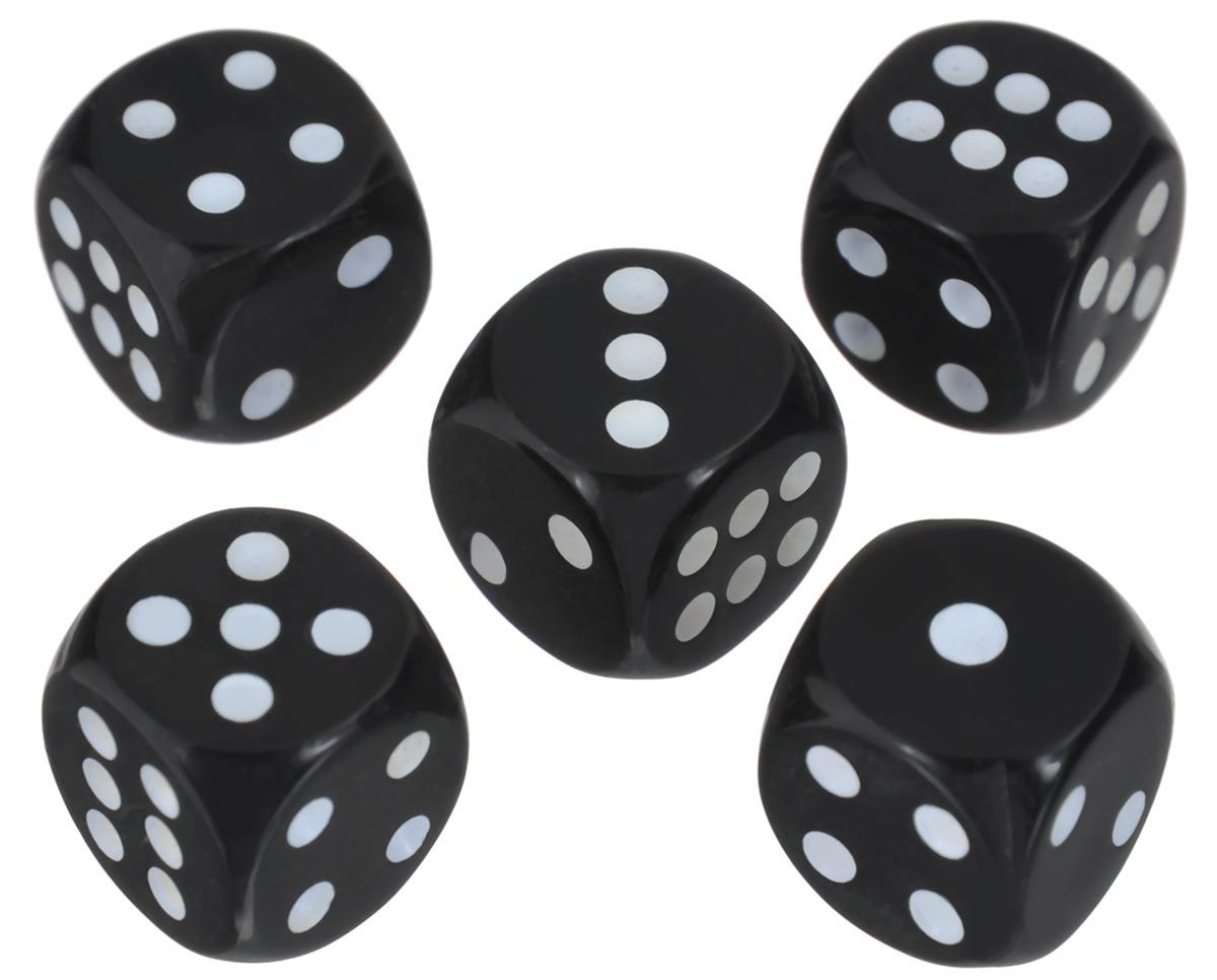 Набор игральных костей Компания Игра, 10 мм, цвет: черный, 5 шт75Набор игральных костей состоит из 5 шестигранных пластиковых кубиков черного цвета с белыми точками. Кости подходят для любых настольных игр на шестигранных кубиках, в том числе и нард.