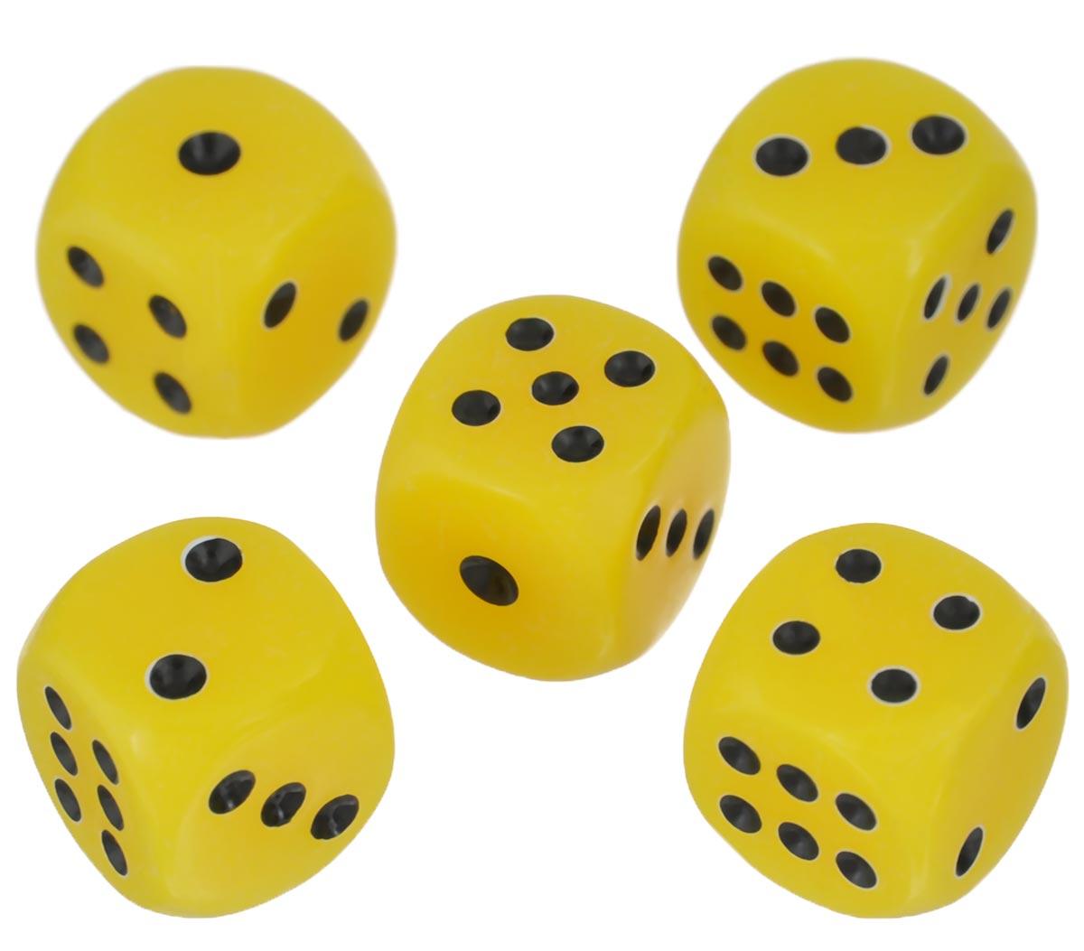 Набор игральных костей Компания Игра, 10 мм, цвет: желтый, 5 шт71Набор игральных костей состоит из 5 шестигранных пластиковых кубиков желтого цвета с черными точками. Кости подходят для любых настольных игр на шестигранных кубиках, в том числе и нард.