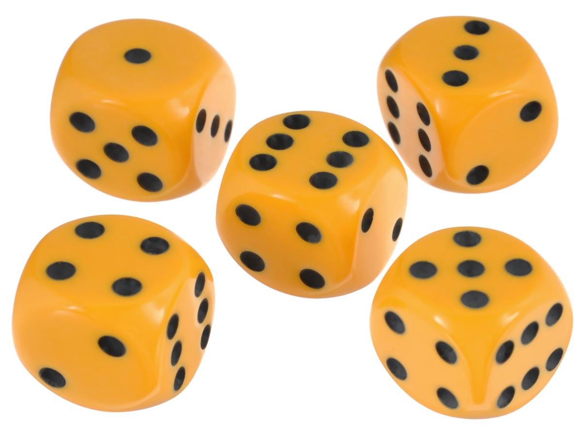 Набор игральных костей Компания Игра, 16 мм, цвет: желтый, 5 шт81Набор игральных костей состоит из 5 шестигранных пластиковых кубиков желтого цвета с черными точками. Кости подходят для любых настольных игр на шестигранных кубиках, в том числе и нард.