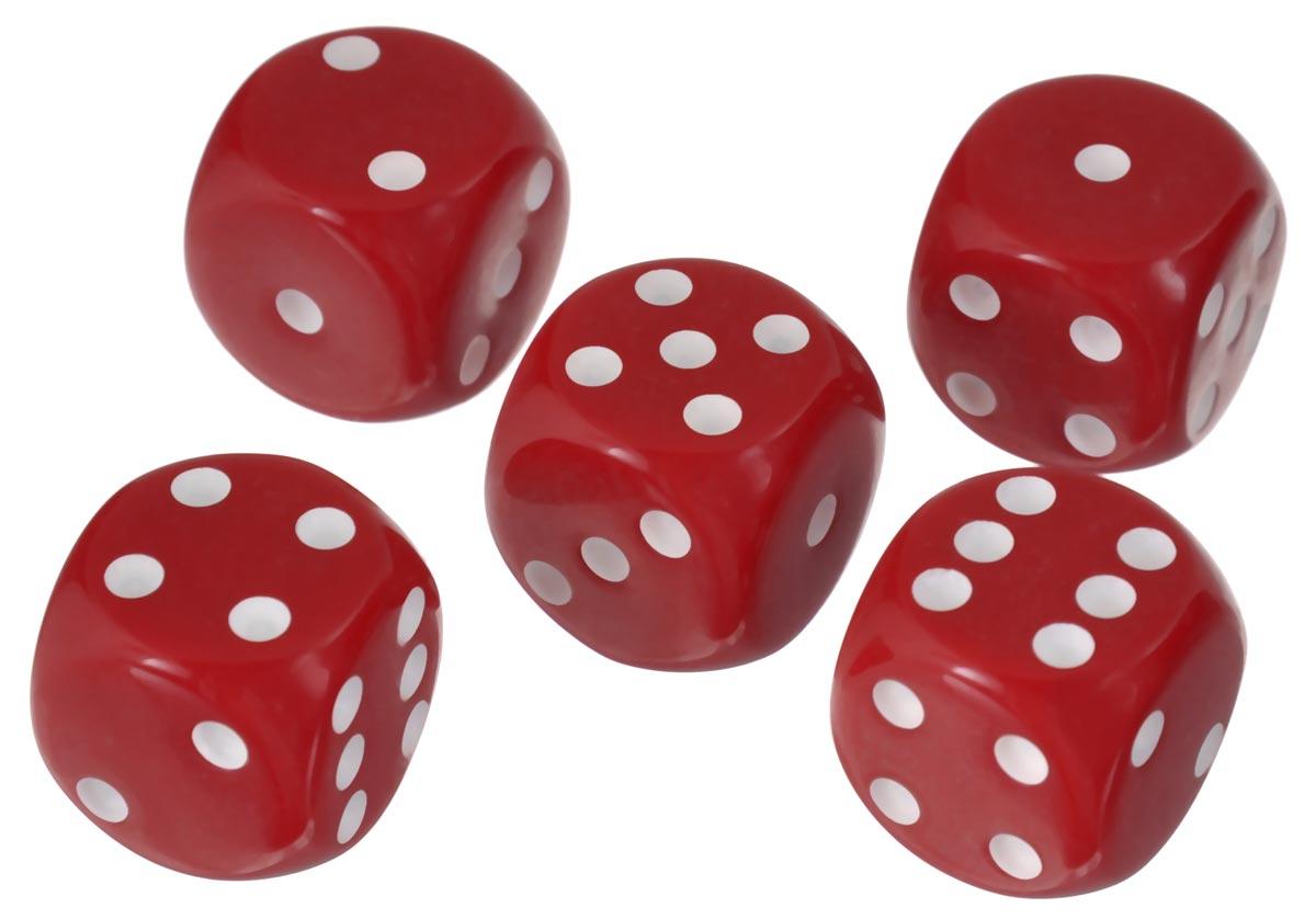 Набор игральных костей Компания Игра, 16 мм, цвет: красный, 5 шт84Набор игральных костей состоит из 5 шестигранных пластиковых кубиков красного цвета с белыми точками. Кости подходят для любых настольных игр на шестигранных кубиках, в том числе и нард.