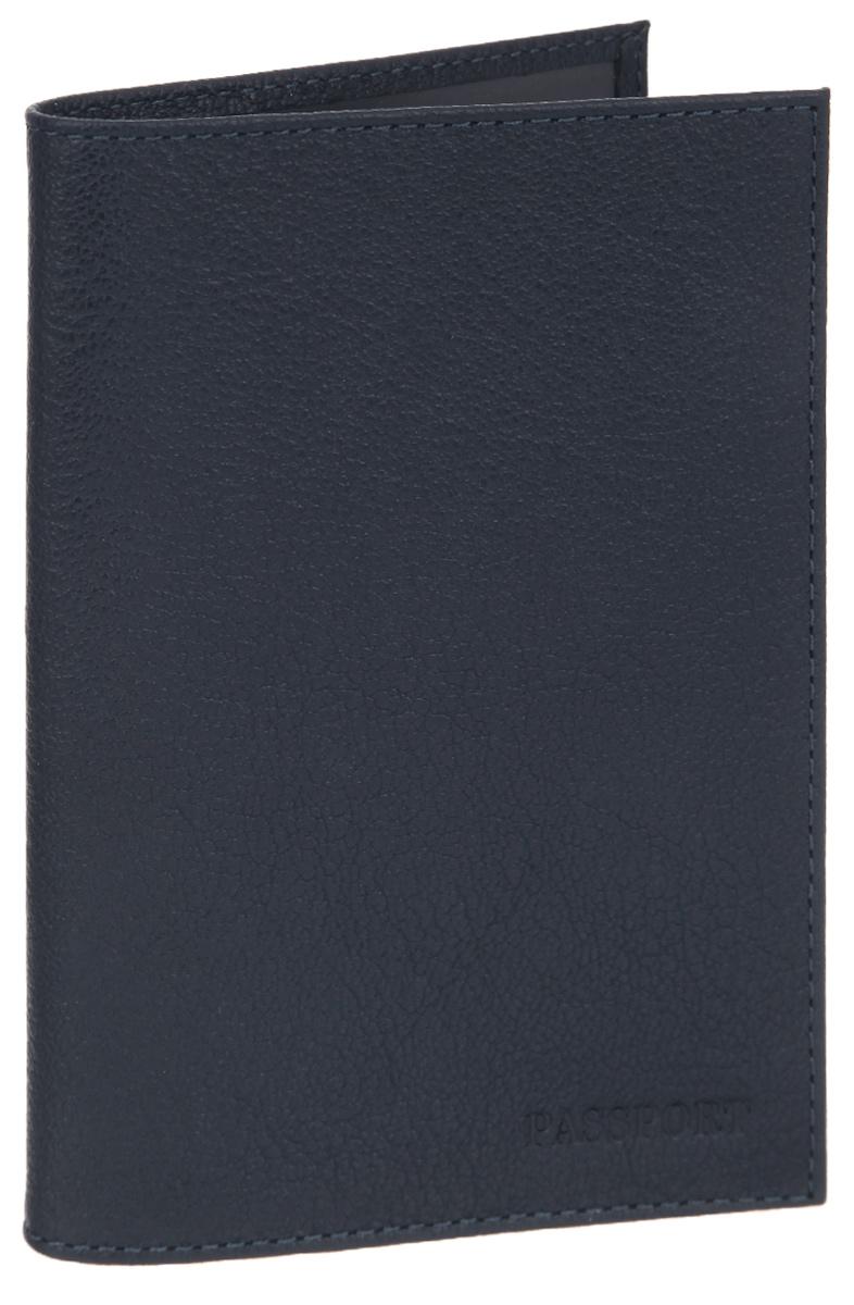Обложка для паспорта мужская Fabula Largo, цвет: темно-синий. O.1.LGO.1.LGОбложка для паспорта Fabula Largo выполнена из натуральной кожи с зернистой фактурой и оформлена тиснением в виде символики бренда. Изделие раскладывается пополам. Внутри размещены два накладных кармашка из прозрачного ПВХ. Изделие поставляется в фирменной упаковке. Стильная обложка для паспорта Fabula Largo станет отличным подарком для человека, ценящего качественные и практичные вещи.