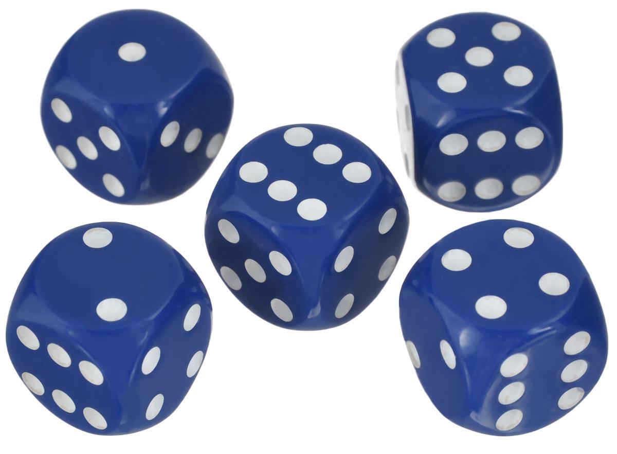 Набор игральных костей Компания Игра, 20 мм, цвет: синий, 5 шт92Набор игральных костей состоит из 5 шестигранных пластиковых кубиков синего цвета с белыми точками. Кости подходят для любых настольных игр на шестигранных кубиках, в том числе и нард.