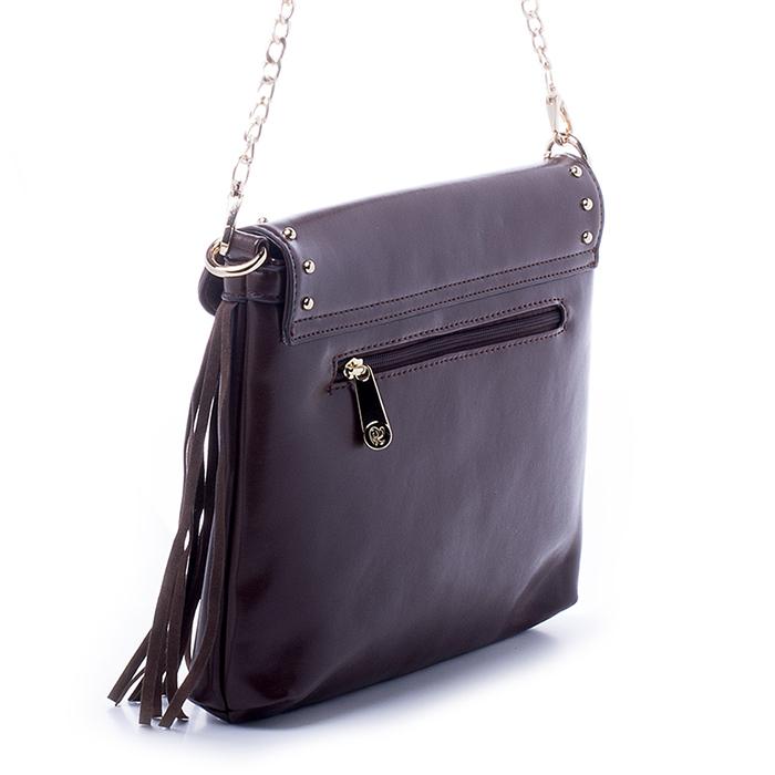 Сумка женская Renee Kler, цвет: темно-коричневый. RK279-03RK279-03Великолепная женская сумка Renee Kler выполнена из искусственной кожи и оформлена бахромой. Изделие имеет одно основное отделение, закрывающееся на застежку-молнию. Внутри имеется прорезной карман на застежке-молнии, держатель для авторучки и два открытых накладных кармана. Закрывается сумка на клапан с магнитной кнопкой. Клапан украшен металлическими заклепками. Снаружи, на задней стенке располагается прорезной карман на застежке-молнии. Сумка оснащена съемной ручкой в виде цепочки. В комплект входит съемный плечевой ремень регулируемой длины. Изделие упаковано в фирменный чехол. Роскошная сумка внесет элегантные нотки в ваш образ и подчеркнет ваше отменное чувство стиля.