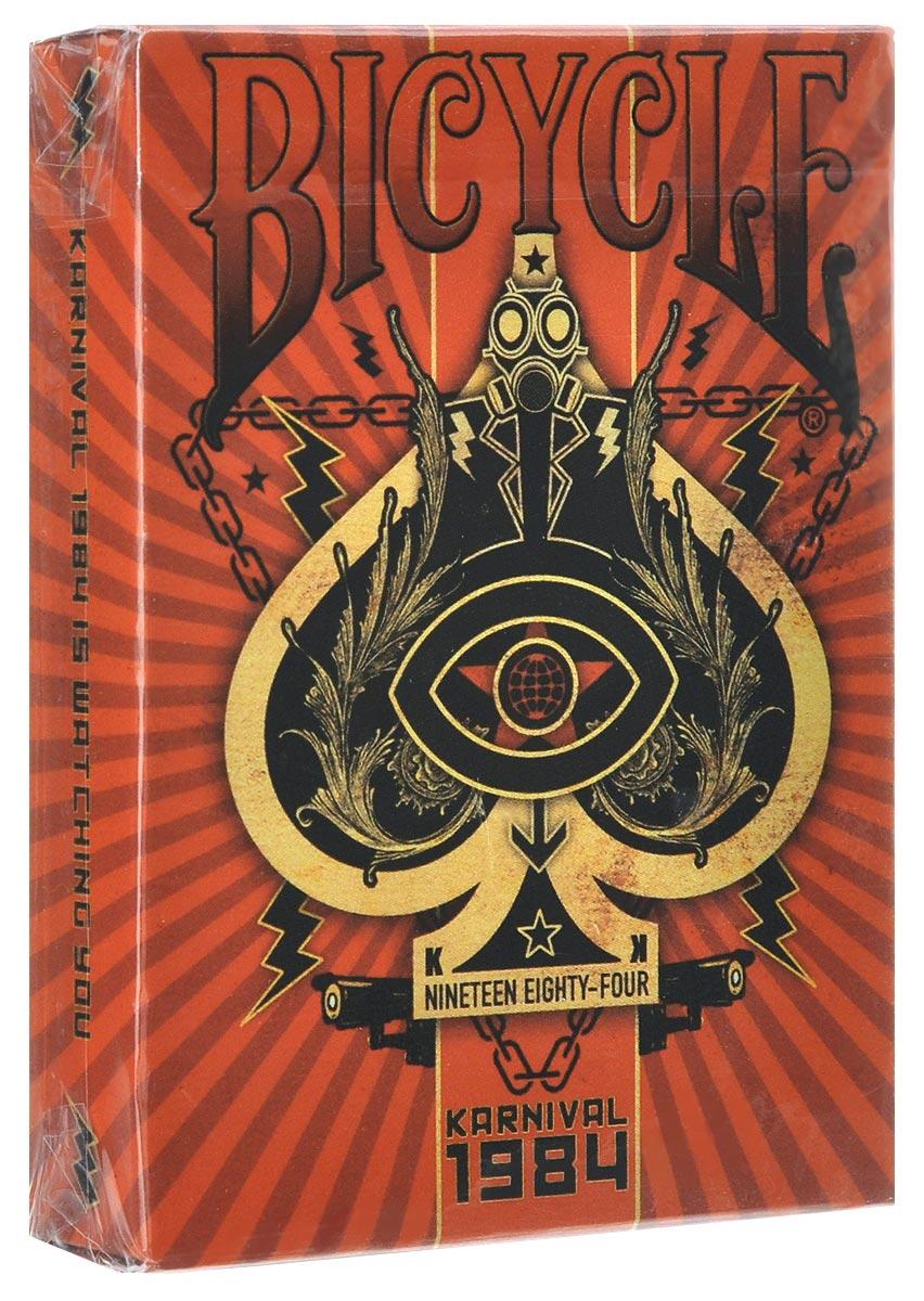 Игральные карты Bicycle Karnival 1984. Big Blind Media, цвет: красныйК-Игральные карты Bicycle Stockholm 17 выполнены из высококачественного картона и отличаются эффектным дизайном. Это самая новая колода, посвященная всемирно известной книге 1984. Большой брат следит за вами! Карты превосходно подойдут как для игры, так и для личной коллекции.