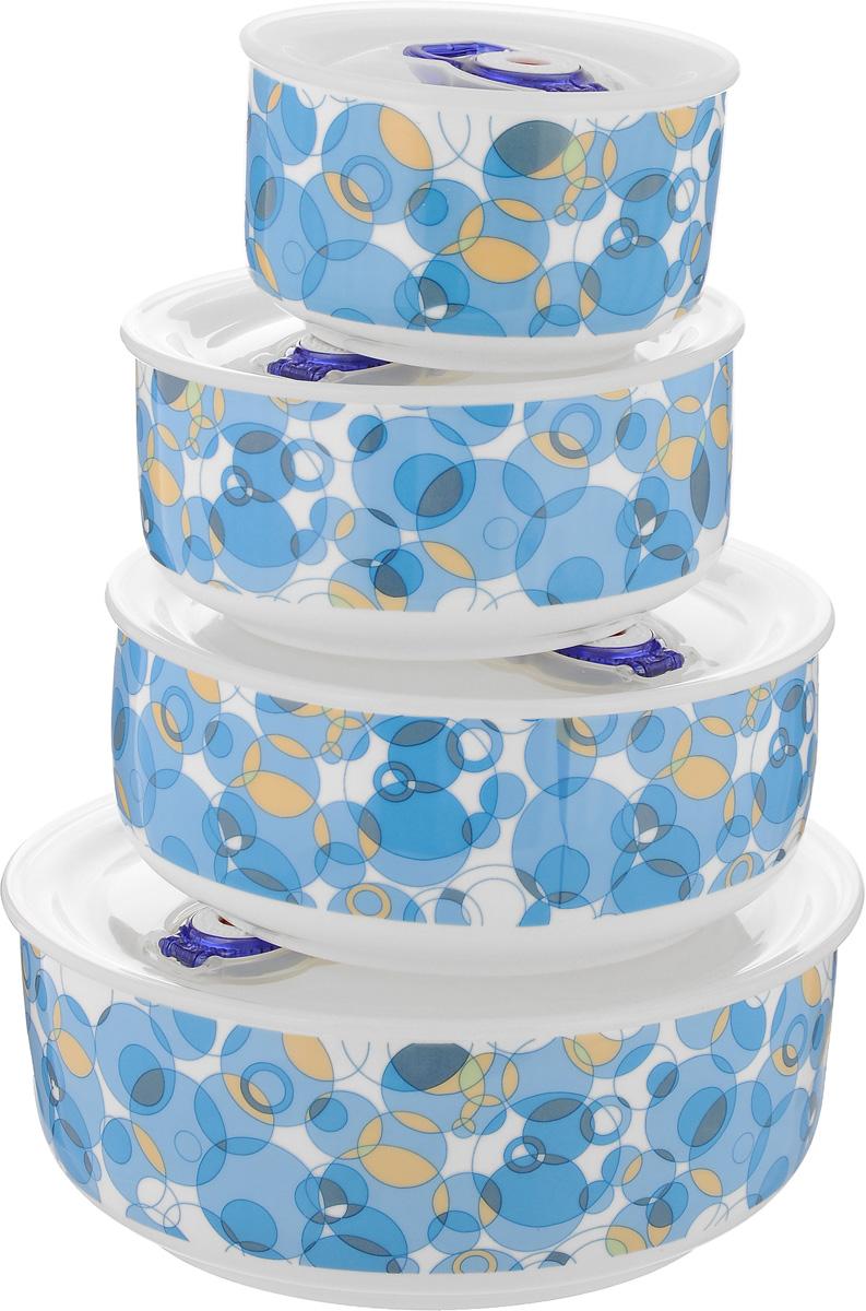 Набор контейнеров для хранения продуктов Darsto, цвет: белый, голубой, 4 шт. 5813A45813A4-BLUE BUBBLEНабор Darsto состоит из 4 контейнеров разного объема, выполненных из высококачественного фарфора. Контейнеры оснащены вакуумными крышками с силиконовыми вставками, которые плотно закрываются, тем самым дольше сохраняя пищу вкусной и свежей. Уникальная технология ClipFresh обеспечивает 100% герметичность и исключает вытекание жидкости. Эстетичность и необыкновенная функциональность набора Darsto позволит ему стать достойным дополнением к вашему кухонному инвентарю. Внутренняя часть коробки украшена желтым атласом, и каждый предмет надежно закреплен. Подходят для использования в микроволновой печи и в посудомоечной машине. Объем контейнеров: 310 мл; 540 мл; 800 мл; 1,5 л. Диаметр контейнеров (по верхнему краю): 10 см; 12,5 см; 15 см; 18 см. Высота контейнеров: 6,5 см; 6,5 см: 6,5 см; 7,5 см.