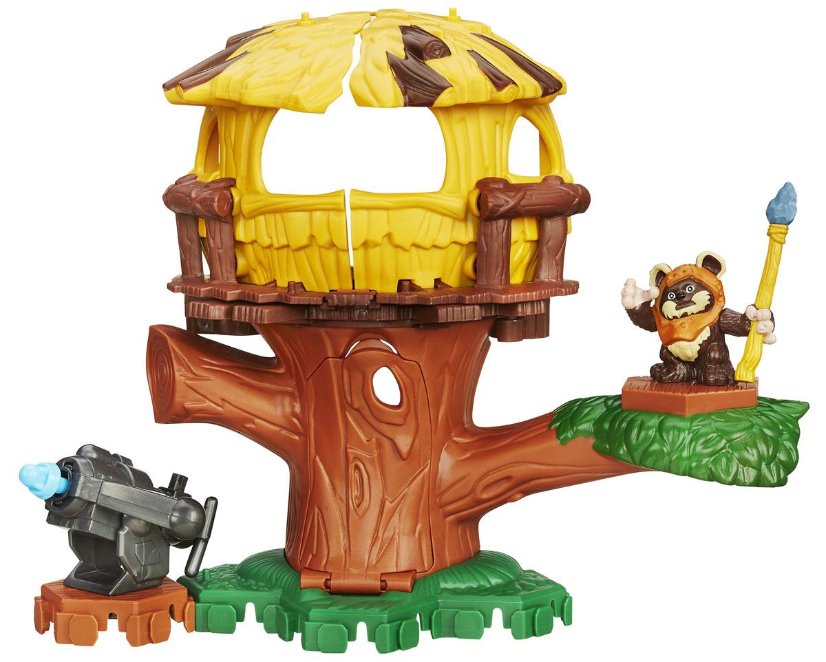 Playskool Heroes Игровой набор Приключение на деревеB2032_B2030_деревоИгровой набор Приключение на дереве из серии Звездные войны, несомненно, порадует каждого ребенка! Набор состоит из фигурки маленького эвока, метательного орудия и большого дерева. Верхняя часть дерева открывается, показывая удобное место для засады, или орудия, которое стреляет специальным снарядом. С игровым набором можно воссоздать различные сцены из фильма Звездные войны, поклонниками которого являются миллионы мальчишек по всему миру. Игрушка выполнена из качественного пластика, безопасного для здоровья вашего ребенка. Удивите своего мальчика новой, яркой и функциональной игрушкой.