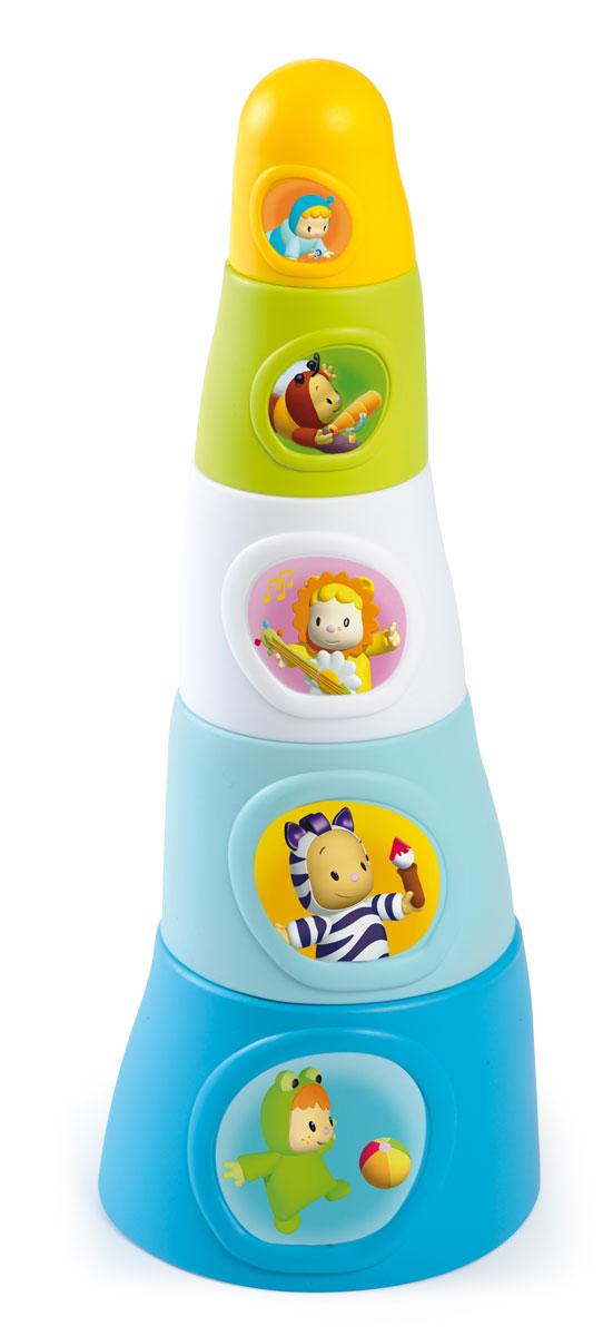 Smoby Пирамидка Happy Tower211322Замечательная яркая пирамидка Happy Tower непременно привлечет внимание малыша. Пирамидка состоит из 5 элементов разных цветов, на каждом элементе есть герой Cotoons. Все элементы можно сложить в основание башни. Играя в пирамидку, малыш развивает понимание форм, различие цветов, понимание последовательности действий.