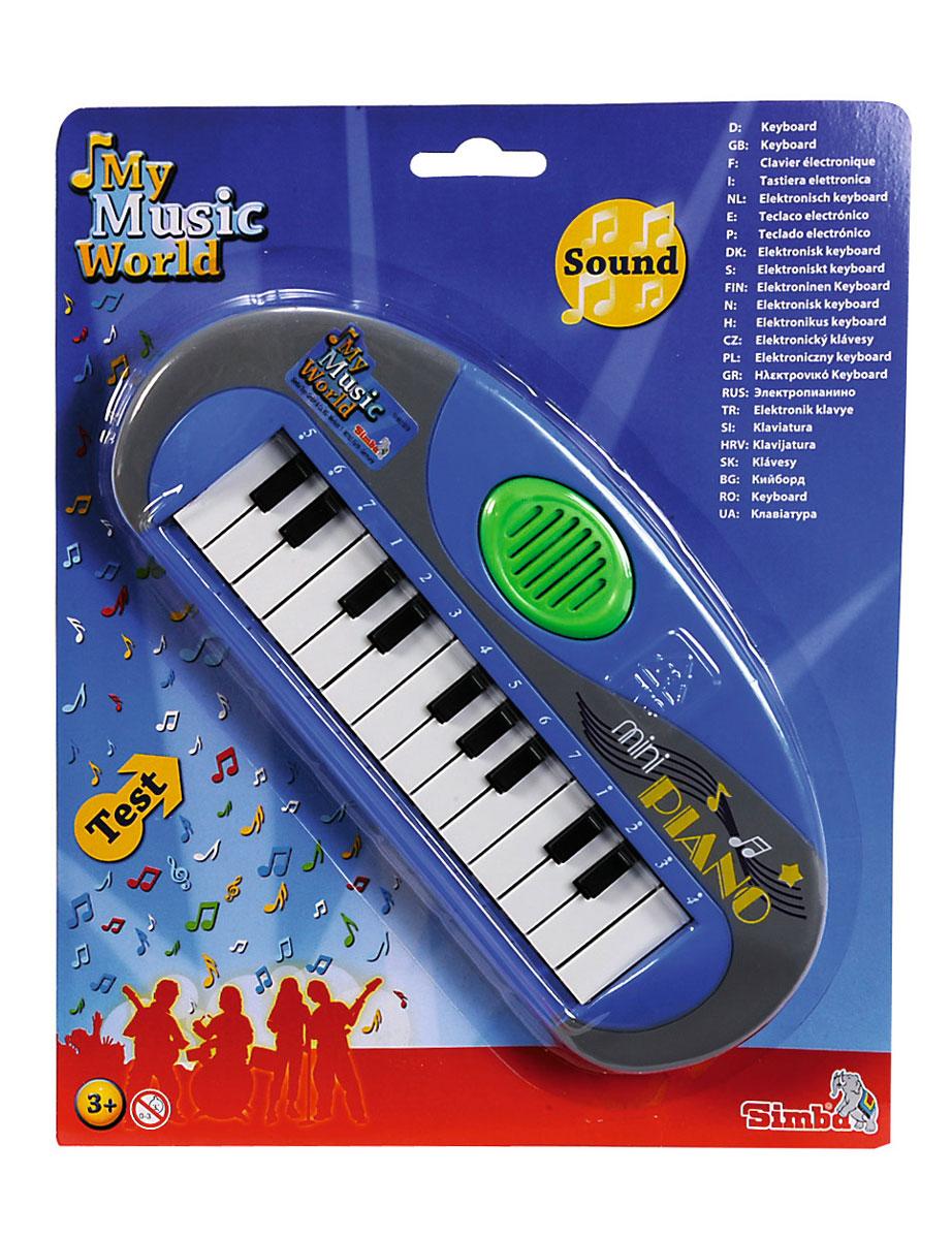 Simba Музыкальная игрушка Мини-пианино цвет голубой6835019Музыкальная игрушка Мини-пианино - замечательное детское пианино, которое издает приятные для слуха звуки, выходящие из динамика при нажатии на клавиши. Такая игрушка дает ребенку возможность сочинять музыку, подпевая. Для ребенка это электронное пианино будет первым шагом в музыкальный мир. Музыка обладает большой силой эмоционального воздействия, воспитывает чувства человека, формирует вкусы. Кроме того, при помощи музыки гораздо более качественно усваивается и речевой материал. Музыкальное развитие очень важно для любого ребенка. Игрушка развивает мелкую моторику, мышление, зрительное и звуковое восприятие, повышает двигательную активность малышей. Рекомендуемый возраст: от 3 лет. Рекомендуется докупить 2 батарейки напряжением 1,5V типа R6 (товар комплектуется демонстрационными).