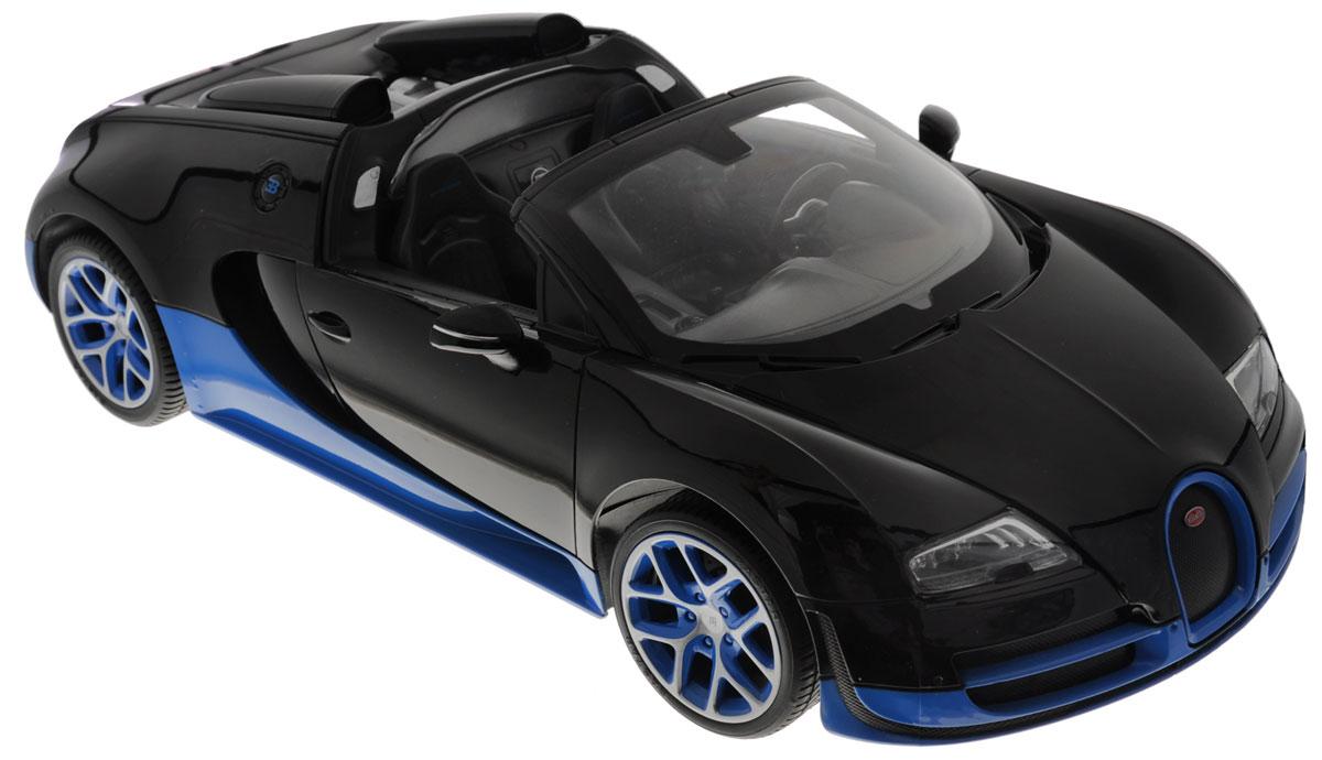 Rastar Радиоуправляемая модель Bugatti Veyron 16.4 Grand Sport Vitesse цвет черный синий70400_черный, синийРадиоуправляемая модель Rastar Bugatti Veyron 16.4 Grand Sport Vitesse станет отличным подарком любому мальчику! Все дети хотят иметь в наборе своих игрушек ослепительные, невероятные и крутые автомобили на радиоуправлении. Тем более, если это автомобиль известной марки с проработкой всех деталей, удивляющий приятным качеством и видом. Одной из таких моделей является автомобиль на радиоуправлении Rastar Bugatti Veyron 16.4 Grand Sport Vitesse. Это точная копия настоящего авто в масштабе 1:14. Авто обладает неповторимым провокационным стилем и спортивным характером. Потрясающая маневренность, динамика и покладистость - отличительные качества этой модели. Возможные движения: вперед, назад, вправо, влево, остановка. Имеются световые эффекты. Пульт управления работает на частоте 27 MHz. Для работы игрушки необходимы 5 батареек типа АА (не входят в комплект). Для работы пульта управления необходима 1 батарейка 9V (6F22) (не входит в комплект).