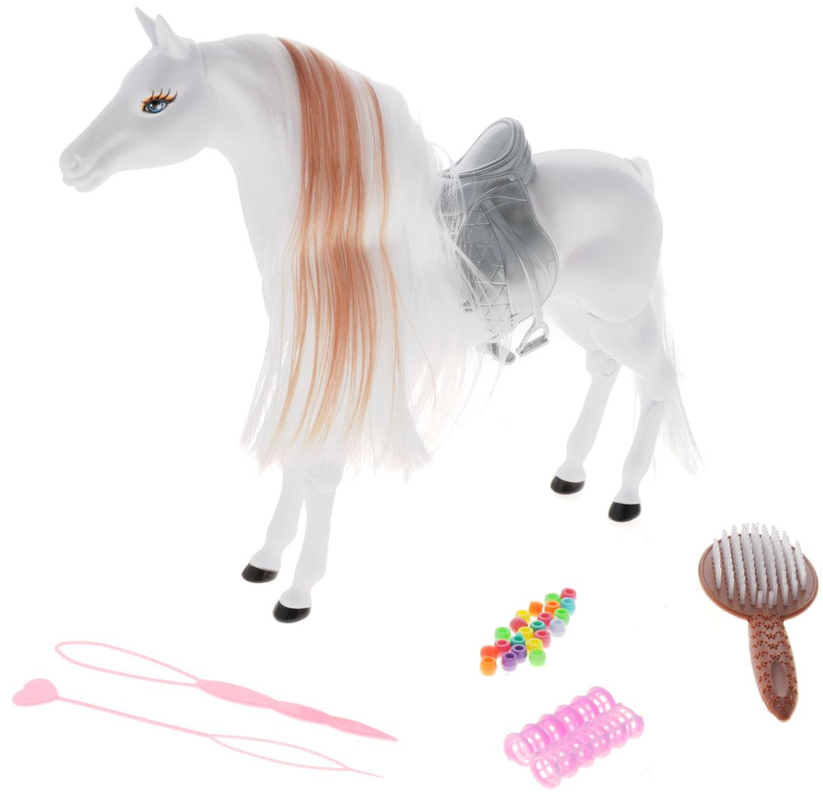 Defa Игрушка Лошадь цвет белый8011d_белыйИгрушка Defa Лошадь станет отличным подарком для девочки. Красивая белоснежная лошадка имеет шикарную белую гриву с шоколадной прядью, и длинный хвост, которые нуждаются в постоянном уходе. Для ухода за волосами лошадки и создания причесок в комплекте идут разнообразные украшения для волос, расческа, бигуди, 2 специальных инструмента. Цвет волос лошадки меняется под воздействием теплого воздуха, для этой цели можно использовать обычный фен. Голова, шея, конечности лошадки подвижны. Ваша малышка будет проводить многие часы за игрой с лошадкой. Сделайте ей такой замечательный подарок!