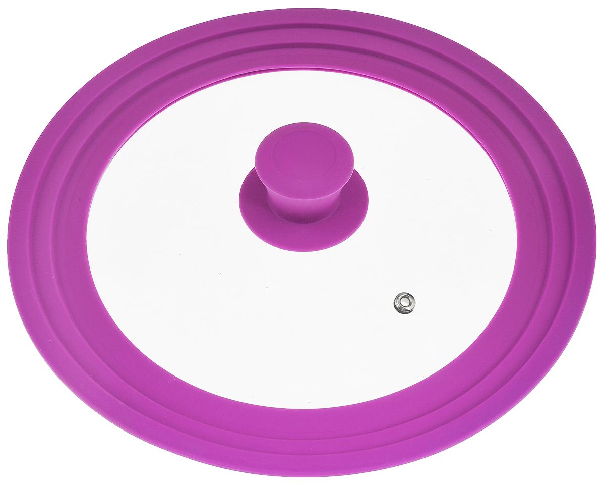 Крышка универсальная Miolla, цвет: фиолетовый, для сковород и кастрюль диаметром 22, 24, 26 см1015026UКрышка Miolla подходит в качестве универсальной крышки к сковородам и кастрюлям диаметром 22, 24 и 26 см. Изготовлена из термостойкого стекла толщиной 4 мм. Ручка и ободок выполнены из жаропрочного пищевого силикона, который выдерживает температуру до +200°C. Имеется отверстие для выхода пара. Можно использовать в духовке (до 180°C). Можно мыть в посудомоечной машине.
