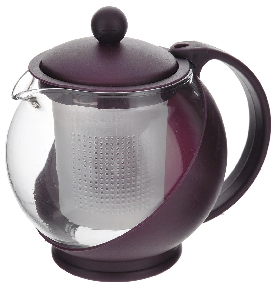 Чайник заварочный Miolla, с фильтром, цвет: вишневый, 500 мл. DHA020P/ADHA020P/AЗаварочный чайник Miolla изготовлен из жаропрочного стекла и термостойкого пластика. Чай в таком чайнике дольше остается горячим, а полезные и ароматические вещества полностью сохраняются в напитке. Чайник оснащен фильтром и крышкой. Простой и удобный чайник поможет вам приготовить крепкий, ароматный чай. Разборная конструкция обеспечивает легкий уход. Можно мыть в посудомоечной машине. Не использовать в микроволновой печи. Диаметр чайника (по верхнему краю): 6,2 см. Высота чайника (без учета крышки): 10 см. Высота фильтра: 7,5 см.