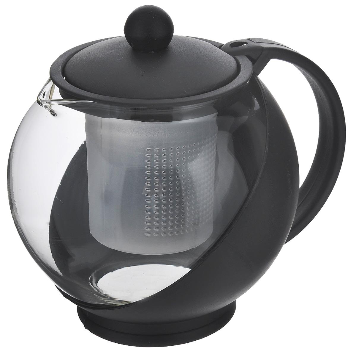 Чайник заварочный Miolla, с фильтром, цвет: черный, прозрачный, 750 мл. DHA021P/ADHA021P/AЗаварочный чайник Miolla изготовлен из жаропрочного стекла и термостойкого пластика. Чай в таком чайнике дольше остается горячим, а полезные и ароматические вещества полностью сохраняются в напитке. Чайник оснащен фильтром и крышкой. Простой и удобный чайник поможет вам приготовить крепкий, ароматный чай. Нельзя мыть в посудомоечной машине. Не использовать в микроволновой печи. Диаметр чайника (по верхнему краю): 7 см. Высота чайника (без учета крышки): 11,5 см. Высота фильтра: 7,5 см.
