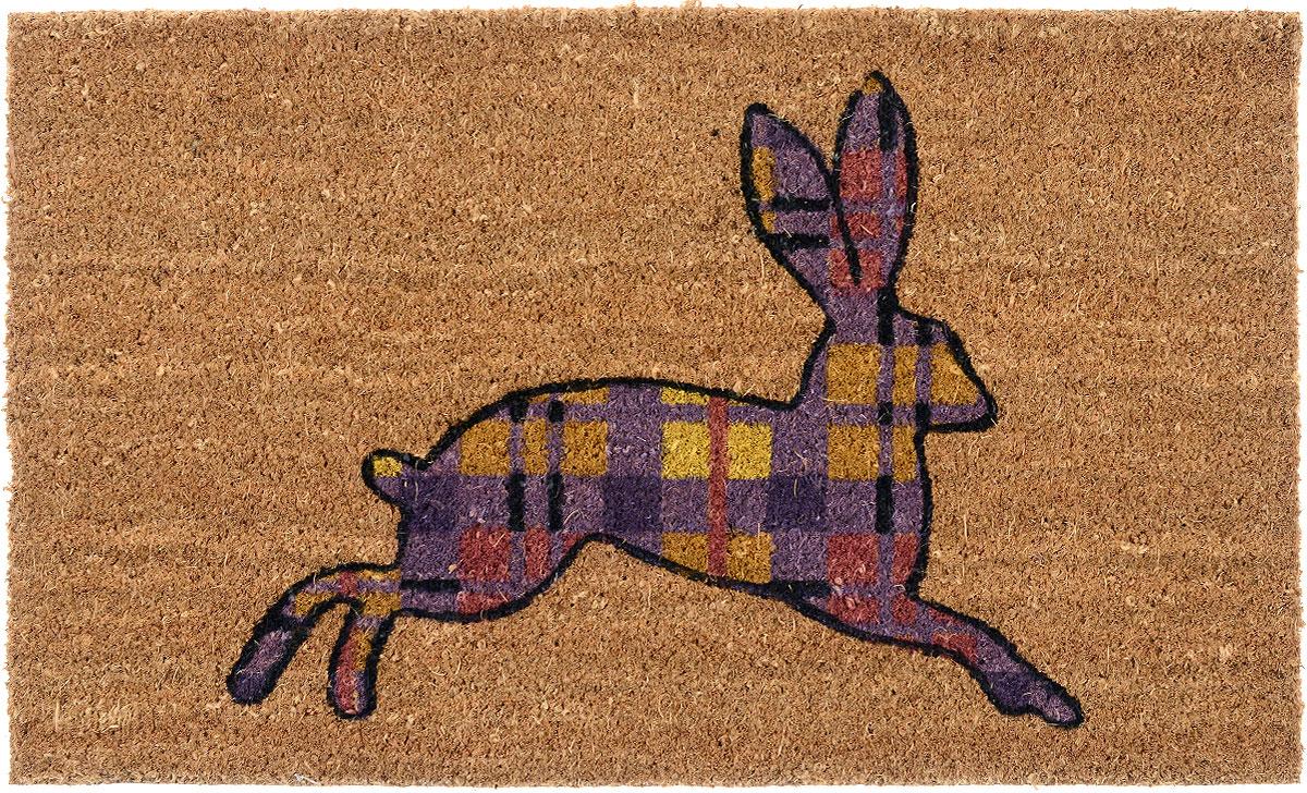 Коврик придверный Gardman Hare Silhouette, 45 см х 75 см82910Придверный коврик Gardman Hare Silhouette, изготовленный из кокосового волокна с основой из ПВХ, имеет жесткий ворс. Коврик оформлен ярким изображением зайца. Его можно использовать отдельно либо с рамкой на резиновой основе для сменных ковриков. Устойчив к любым погодным условиям. Отличается прочностью и долгим сроком службы. Такой коврик прекрасно дополнит интерьер прихожей и надежно защитит помещение от уличной пыли и грязи.