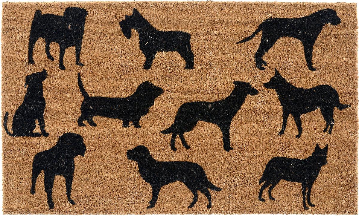 Коврик придверный Gardman Dog Montage, 45 х 75 см82669Придверный коврик Gardman Dog Montage, изготовленный из кокосового волокна с основой из ПВХ, имеет жесткий ворс. Коврик оформлен декорирован изображением собак. Его можно использовать отдельно либо с рамкой на резиновой основе для сменных ковриков. Устойчив к любым погодным условиям. Отличается прочностью и долгим сроком службы. Такой коврик прекрасно дополнит интерьер прихожей и надежно защитит помещение от уличной пыли и грязи.