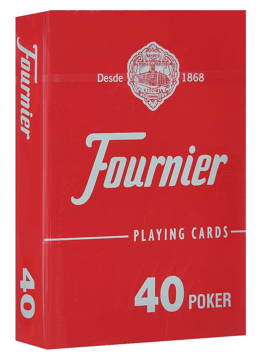 Карты игральные Fournier №40, стандартный индекс, цвет: красный, 55 штК-513_красныйКлассические карты Fournier №40 выполнены из высококачественного гладкого пластика. Они имеют покерный размер и стандартный индекс. Эти карты прослужат вам долго, не зря они рекомендованы для покерных клубов и казино, где сумасшедшая нагрузка на карты. В колоде 55 карт (52 карты, 3 джокера + рекламная карта).