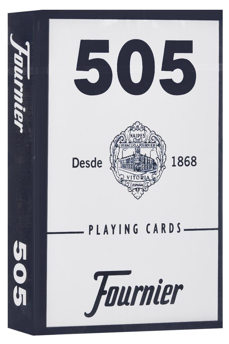 Карты игральные Fournier №505, стандартный индекс, цвет: синий, 55 штК-512_синийКарты для покера Fournier №505 – это карты от известного испанского производителя, продукция которого завоевала мировую популярность. Карты изготовлены по современным покерным стандартам и технологиям, они отличаются высокими износостойкими характеристиками, а пластиковое покрытие не стирается и не осыпается, несмотря на интенсивное использование. Покерные карты Fournier №505 приятно держать в руках, они не слипаются, и их хорошо принимает шафл-машинка. Высокая четкость изображения рисунков и цифр на картах позволяет их хорошо видеть с любого места за столом. Карты имеют покерный размер и стандартный индекс. Колода содержит 55 карт (52 карты, 3 джокера и одну рекламную карту).
