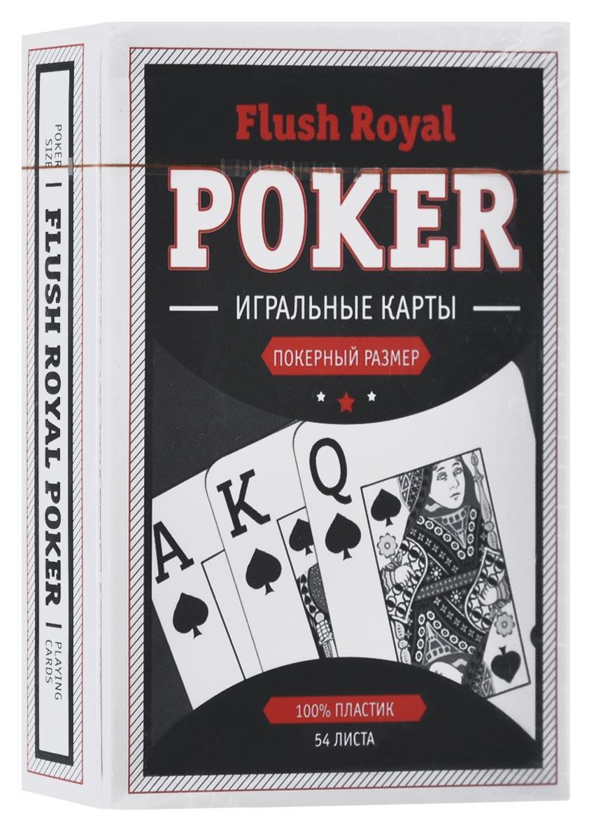 Карты игральные Компания Игра Flush Royal Poker, джамбо индекс, цвет: черный, 54 карты. 70777077Игральные карты Flush Royal Poker выполнены из высококачественного пластика. Рубашка - черного цвета. Карты имеют классическое оформление, джамбо (увеличенный) индекс и покерный размер. Изделие хранится в фирменной картонной коробке.
