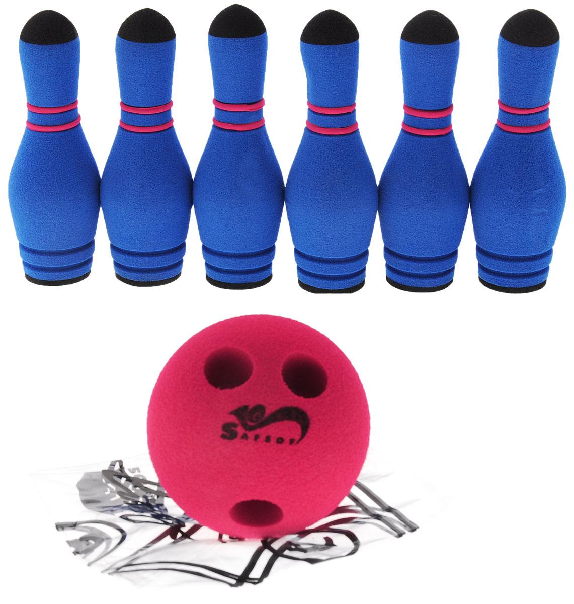 Safsof Игровой набор Мини-боулинг цвет синий красныйMBB-05(B)_синий, красныйИгровой набор Safsof Мини-боулинг, изготовленный из вспененной резины и полимера, состоит из шести кеглей и шара. Набор выполнен из мягкого материала, что обеспечивает безопасность ребенку. Суть игры в боулинг - сбить шаром максимальное количество кеглей. Число игроков и количество туров - произвольное. Очки, набранные с каждым броском мяча, рассматриваются как количество сбитых кегель. Расстояние, с которого совершается бросок, определяется игроками. Каждый игрок имеет право на два броска в одной рамке (рамка - треугольник, на поле которого выстраиваются кегли перед каждым первым броском очередного игрока). Бросок, при котором все кегли сбиты, называется страйк и обозначается как Х. Если все кегли сбиты первым броском, второй бросок не требуется: рамка считается закрытой. Призовые очки за страйк - это сумма кеглей, сбитых игроком следующими двумя бросками. Выигрывает тот игрок, который в сумме набирает больше очков.