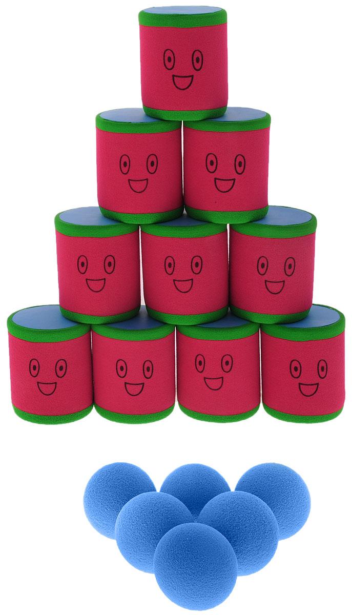 Safsof Игровой набор Городки цвет красный зеленый голубойAT-01N(B)_красный, зеленый, голубойИгровой набор Городки, изготовленный из вспененного полимера, состоит из десяти ярких банок и шести мячиков. Цель игры: выбить как можно больше фигур, построенных из трех и более городков (банок), мячами с определенного расстояния. Каждый участник сбивает фигуру с одного и того же расстояния, на каждую фигуру дается три броска. Если игроку удается сбить фигуру с первого броска, он получает 3 балла, со второго - 2 и с третьего - 1. Выигрывает тот участник, который набирает большее количество баллов. Благодаря яркой расцветке и легкому и безопасному материалу, с этим набором можно играть не только на улице, но и дома.