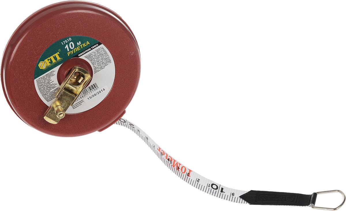 Рулетка геодезическая круглая FIT, 10 м17510Рулетка геодезическая круглая FIT предназначена для измерения длины. Представляет собой пластмассовую ленту с нанесёнными делениями, которая намотана на катушку, заключённую в корпус, снабжённый механизмом для сматывания ленты. Ширина ленты: 1,3 см.