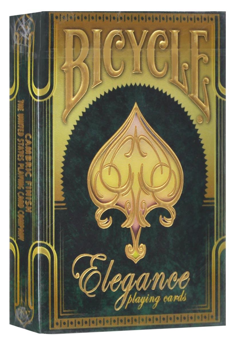 Коллекционные игральные карты Bicycle Elegance, цвет: золотистый, изумрудный, 56 шт. Ограниченный выпускК-429Коллекционные игральные карты Bicycle Elegance является одной из самых качественных колод, из когда-либо выпущенных заводом USPCC Она изготовлена из лучшей бумаги, используемой при изготовлении карт Bee-Cambric Finish. Каждая из 56 игральных карт идеально покрашена металлическими чернилами золотистого цвета. В наборе есть специальная гафф-карта и дополнительный джокер. Выпущено всего 2500 экземпляров и они больше никогда не будут изготовлены снова. Карты превосходно подойдут как для игры, так и для личной коллекции.