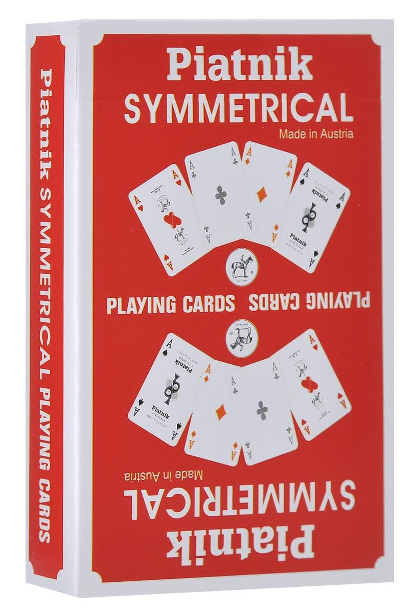 Карты игральные Piatnik Симметрия, цвет: красный, 55 карт1331_красныйКарты Симметрия подходят для профессиональных игроков в покер и другие карточные игры, так как имеют очень гладкую поверхность, высококачественное покрытие и стандартный покерный размер.