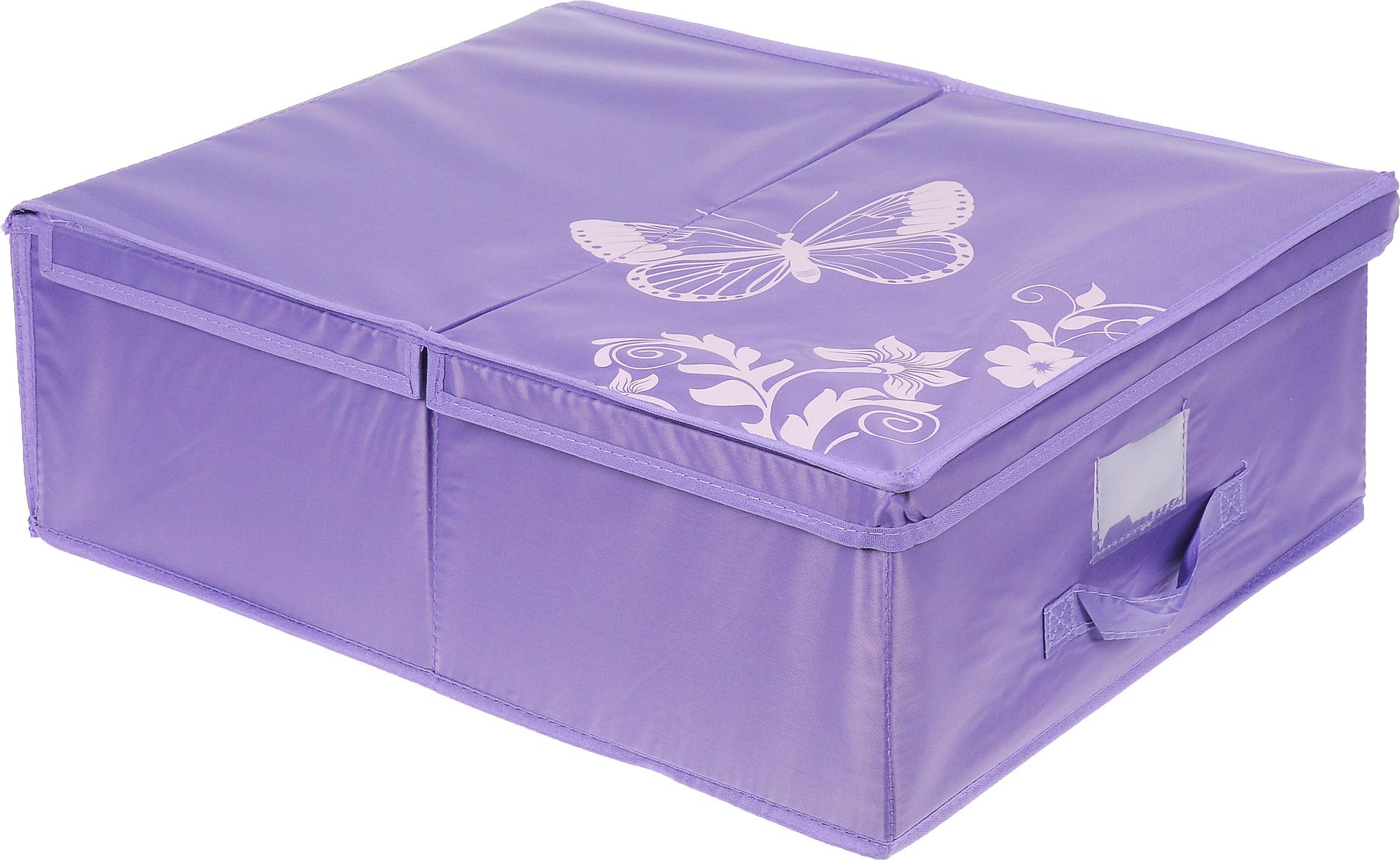 Кофр подкроватный Hausmann Butterfly, цвет: фиолетовый, 43 см х 54 см х 18 см4P-103-4С_фиолетовыйПодкроватный кофр для хранения Hausmann Butterfly поможет легко организовать пространство в шкафу или в гардеробе, компактные формы позволяют хранить его под кроватью. Изделие выполнено из нетканого материала и полиэстера с защитой от пыли. Кофр держит форму благодаря жесткой вставке из картона, которая устанавливается на дно. Боковая поверхность оформлена красивым принтом. Имеется ручка, крышка и прозрачный карман для пометки содержимого. В таком кофре удобно хранить одежду, текстиль и различные аксессуары.