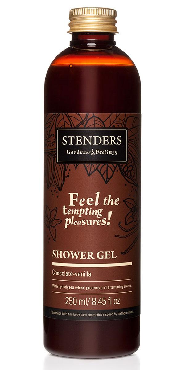 Stenders Гель для душа Шоколадно-ванильный, 250 млSGCVНаш соблазнительный гель для душа с нотками ароматов шоколада и ванили, обеспечит вас заботливым очищением, даря вашей коже ощущение бархатистости. Композиция бережно очищающих веществ позаботится о нежном купании, а гидролизованные протеины пшеницы помогут сохранить уровень влажности кожи. Ощутите, как вас окутывают пышная пена и насыщенный сладкий аромат, превращая умывание в ритуал полный наслаждения. Пшеничные протеины - Пшеница столетиями служила людям в качестве ценного полезного источника питания. Протеинам, входящим в ее состав, присущи свойства, которые позволяют использовать их для заботы о вашей красоте и хорошем самочувствии. Протеины пшеницы естественным образом смягчают вашу кожу и укрепляют волосы. Кроме того, они обеспечивают увлажнение и придают ощущение исключительной гладкости.