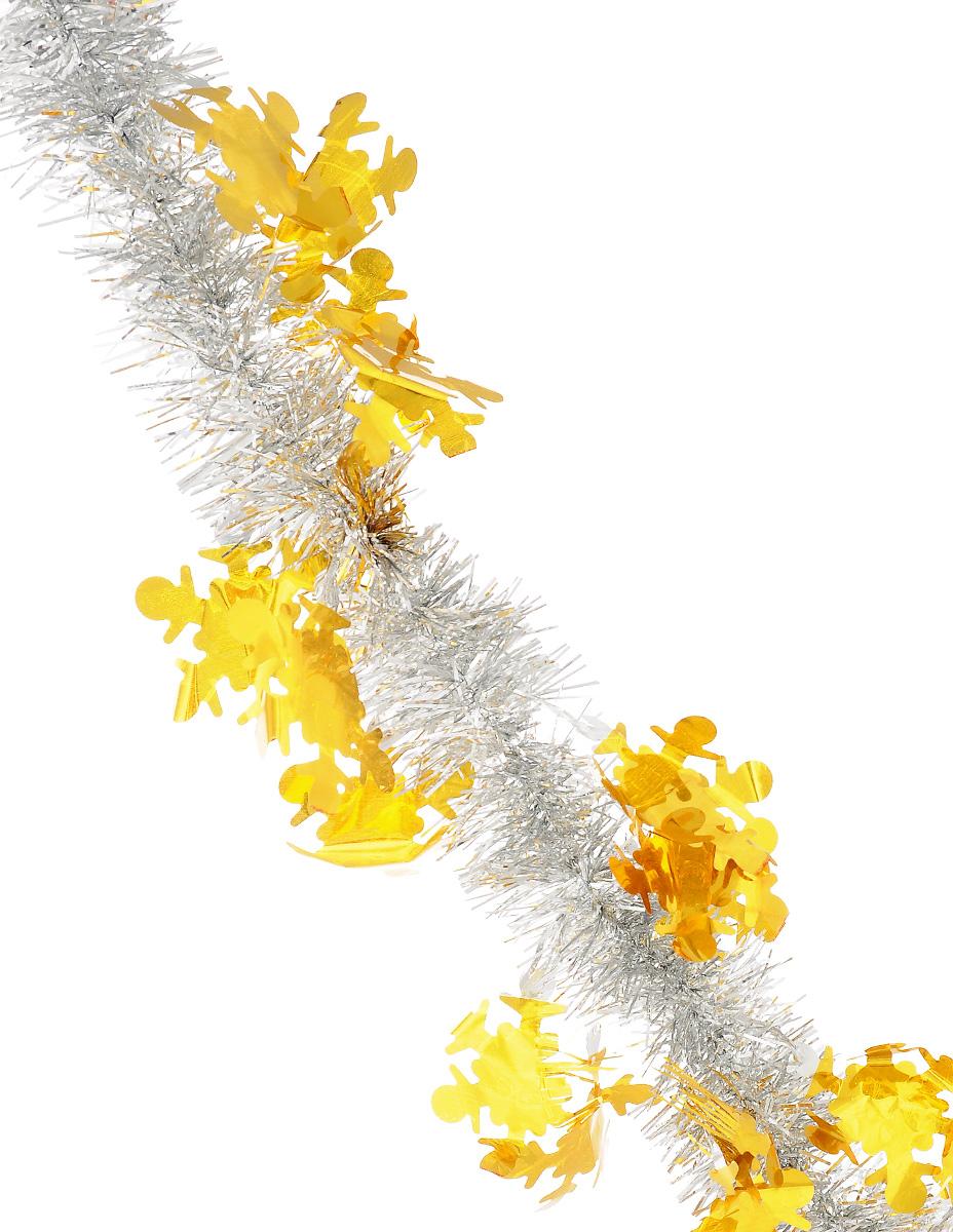 Мишура новогодняя Sima-land, цвет: желтый, серебристый, диаметр 5 см, длина 2 м. 825982825982_желтый, серебристыйМишура новогодняя Sima-land, выполненная из двухцветной фольги, поможет вам украсить свой дом к предстоящим праздникам. Мишура армирована, то есть имеет проволоку внутри и способна сохранять приданную ей форму. Новогодняя елка с таким украшением станет еще наряднее. Новогодней мишурой можно украсить все, что угодно - елку, квартиру, дачу, офис - как внутри, так и снаружи. Можно сложить новогодние поздравления, буквы и цифры, мишурой можно украсить и дополнить гирлянды, можно выделить дверные колонны, оплести дверные проемы. Коллекция декоративных украшений из серии Зимнее волшебство принесет в ваш дом ни с чем несравнимое ощущение праздника! Создайте в своем доме атмосферу тепла, веселья и радости, украшая его всей семьей.