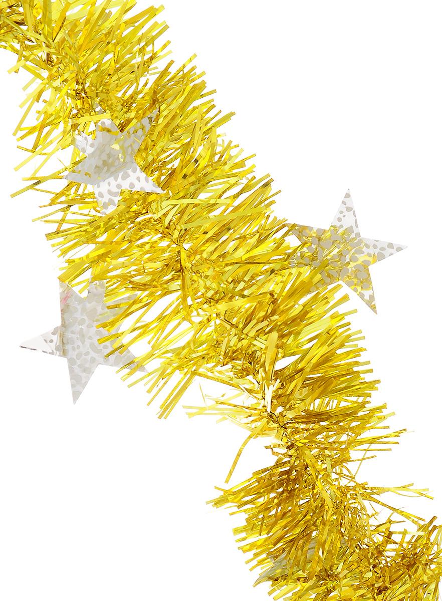 Мишура новогодняя Sima-land, цвет: желтый, серебристый, диаметр 9 см, длина 2 м. 825983825983_желтый, серебристыйНовогодняя мишура Sima-land, выполненная из ПЭТ (полиэтилентерефталат), поможет вам украсить свой дом к предстоящим праздникам. Изделие декорировано звездами. Новогодняя елка с таким украшением станет еще наряднее. Мишура армирована, то есть имеет проволоку внутри и способна сохранять форму. Новогодней мишурой можно украсить все, что угодно - елку, квартиру, дачу, офис - как внутри, так и снаружи. Можно сложить новогодние поздравления, буквы и цифры, мишурой можно украсить и дополнить гирлянды, можно выделить дверные колонны, оплести дверные проемы. Коллекция декоративных украшений из серии Magic Time принесет в ваш дом ни с чем не сравнимое ощущение волшебства! Создайте в своем доме атмосферу тепла, веселья и радости, украшая его всей семьей.