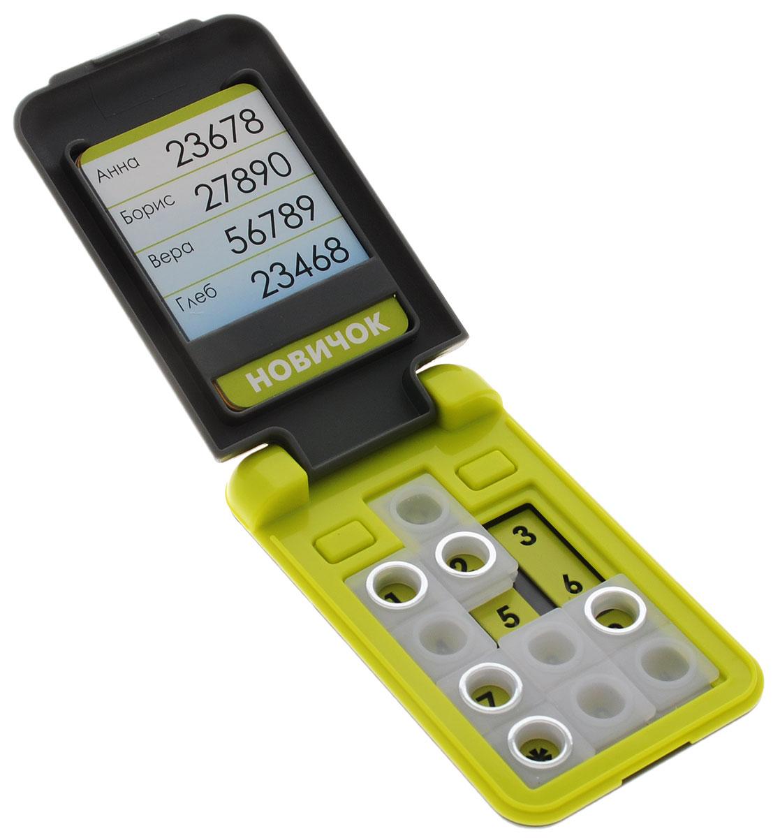 Bondibon Игра Смартфон цвет салатовыйВВ0843_салатовыйСамый доступный и совершенно безопасный, яркий и модный персональный смартфон, не требующий подзарядки и обновления программного обеспечения принесет удовольствие как ребенку, так и взрослому. Компактный продуманный дизайн позволит не отвлекаться от игры даже в стесненных дорожных условиях. Карточка с заданиями помещается во внутреннее отделение дисплея смартфона. Кнопки на клавиатуре игры необходимо перемещать таким образом, чтобы все цифры из задания стали видны сквозь отверстия на кнопках. Игрушка с заданиями от простых - для семилетних малышей, до сложных - для опытных любителей логических головоломок. Увлекательная игра скрасит время вынужденного ожидания и длительного путешествия.