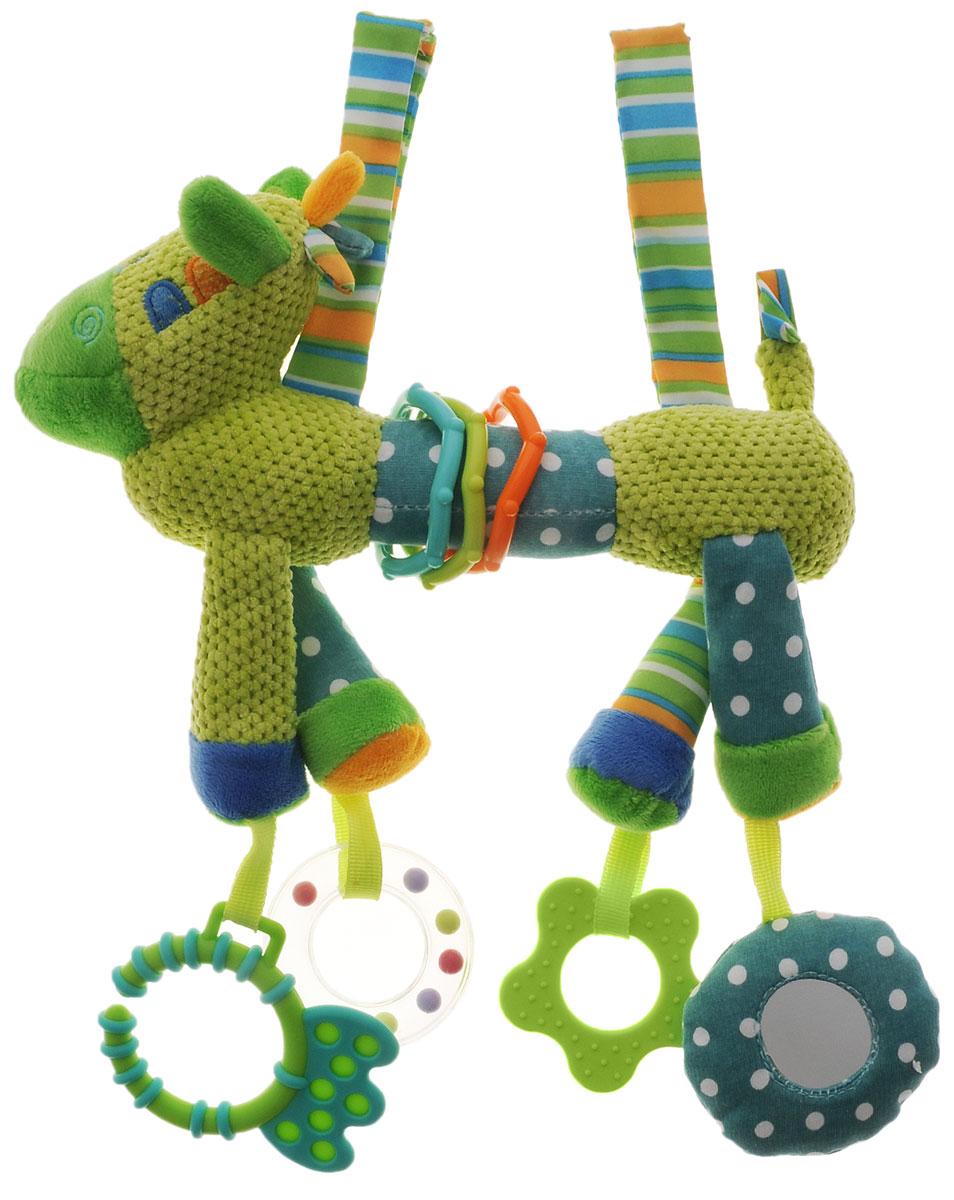 Жирафики Подвеска Веселый зоопарк цвет салатовый93837_салатовыйПодвеска Веселый зоопарк - развивающая игрушка для малыша, которая сшита из тканей разного цвета и фактуры. Играя с зеркальцем, прорезывателем и погремушкой, ребенок развивает слуховое, эмоциональное, зрительное восприятие и тактильные ощущения. Порадуйте своего малыша таким замечательным подарком!