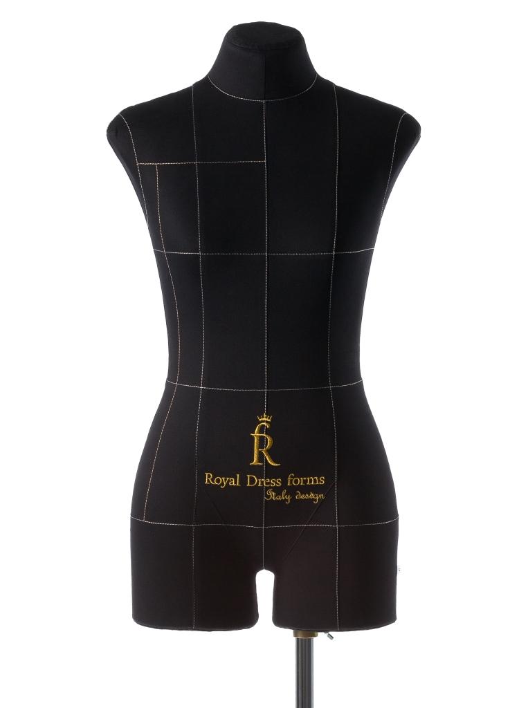 Манекен портновский Royal Dress forms Monica, с подставкой, женский, цвет: черный. Размер 424607824120424Манекен портновский Royal Dress forms Monica премиум-класса выполнен из эластичного полимерного материала и 100% хлопка. Основные преимущества: - детальные формы человеческого тела; - манекен имеет конструкторские линии, которые незаменимы при конструировании одежды; - манекен не боится высоких температур, поэтому на нем можно отпаривать одежду, не боясь за деформацию основы; - можно накалывать изделия булавками; - можно сжимать, чтобы надеть нерастяжимые изделия; - не боится падений и сколов. Обтяжка съемная. Дополнительно возможно присоединять к манекену руки (приобретаются отдельно). К манекену прилагается изящная подставка Royal Dress forms Звезда, выполненная из металла, с двойной регулировкой манекена по высоте в пределах 80 см. Объем груди: 84 см. Объем талии: 67 см. Объем бедер: 92 см. Высота подставки: 35 см. Ширина подставки: 57 см. Длина хромированной трубы: 100...