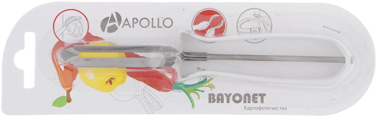 Картофелечистка Apollo Bayonet, цвет: белыйBOT-01Картофелечистка Bayonet предназначена для аккуратного удаления кожуры с овощей и фруктов. Изделие выполнено из высококачественной нержавеющей стали. Ручка имеет противоскользящее покрытие. Общая длина картофелечистки: 15 см. Длина рабочей части: 6 см.