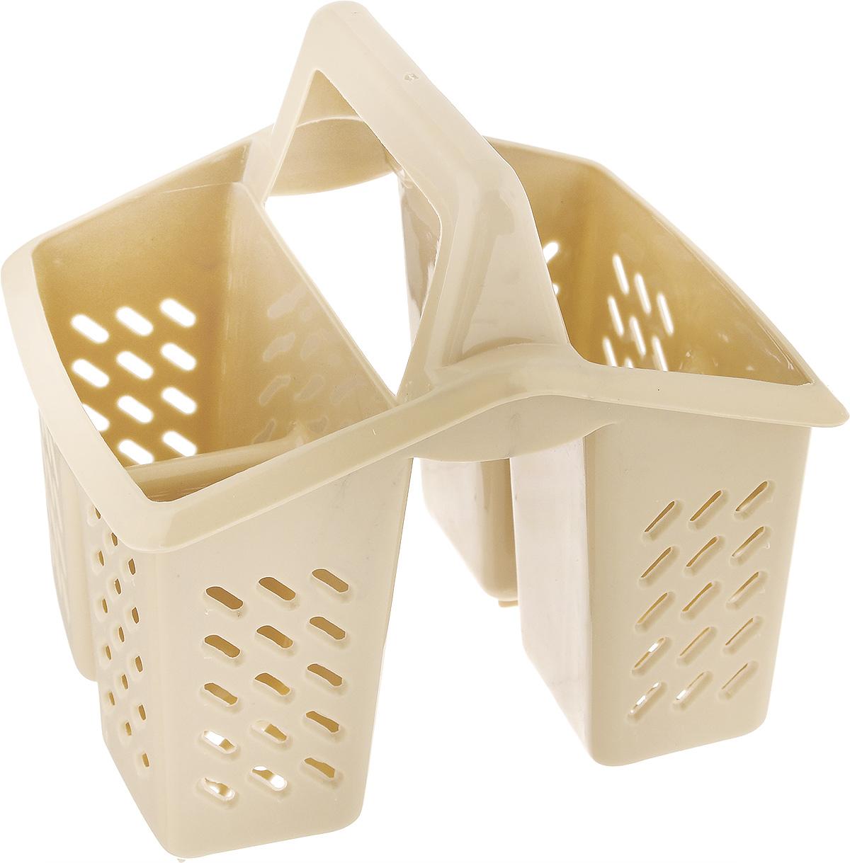 Подставка для столовых приборов Dunya Plastik, цвет: песочный14007_песочныйПодставка для столовых приборов Dunya Plastik, изготовленная из высококачественного прочного пластика, оснащена 4 секциями для различных столовых приборов. Дно и стенки имеют перфорацию для легкого стока жидкости. Изделие снабжено удобной ручкой. Подставка для столовых приборов Dunya Plastik поможет аккуратно рассортировать все столовые приборы и тем самым поддерживать порядок на кухне.