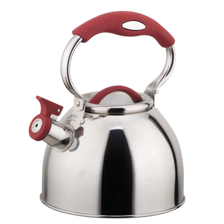 Чайник Mayer & Boch, со свистком, цвет: вишневый, 3 л4128Чайник Mayer & Boch выполнен из высококачественной нержавеющей стали, что делает его весьма гигиеничным и устойчивым к износу при длительном использовании. Носик чайника оснащен насадкой-свистком, что позволит вам контролировать процесс подогрева или кипячения воды. Подвижная ручка, выполненная из нейлона, дает дополнительное удобство при наливании напитка. Поверхность чайника гладкая, что облегчает уход за ним. Эстетичный и функциональный, с эксклюзивным дизайном, чайник будет оригинально смотреться в любом интерьере. Подходит для всех типов плит, включая индукционные. Можно мыть в посудомоечной машине. Высота чайника (без учета ручки и крышки): 14,5 см. Высота чайника (с учетом ручки и крышки): 25 см. Диаметр чайника (по верхнему краю): 10,5 см.