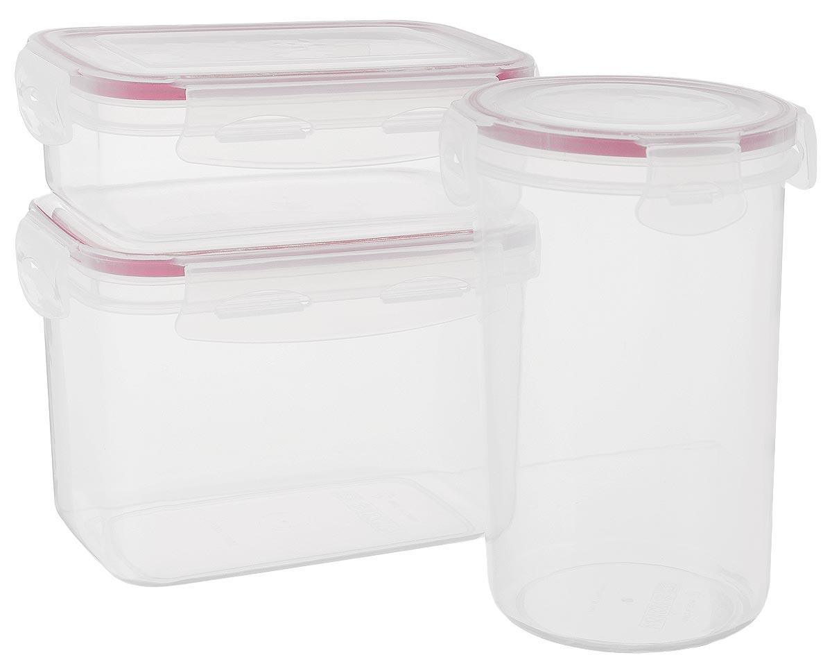 Набор контейнеров для хранения продуктов Darsto, цвет: прозрачный, бордовый, 3 шт. 5144A35144A3Набор Darsto состоит из 3 контейнеров разного объема, выполненных из высококачественного пластика. Контейнеры оснащены вакуумными крышками с силиконовыми вставками, которые плотно закрываются, тем самым дольше сохраняя пищу вкусной и свежей. Уникальная технология ClipFresh обеспечивает 100% герметичность и исключает вытекание жидкости. Эстетичность и необыкновенная функциональность набора Darsto позволит ему стать достойным дополнением к вашему кухонному инвентарю. Подходят для использования в микроволновой печи и в посудомоечной машине. Объем контейнеров: 450 мл; 750 мл; 1 л. Размер контейнеров (с учетом крышек): 15 см х 10,5 см х 6 см; 10 см х 10 см х 16 см; 15 см х 10 см х 11,5 см.