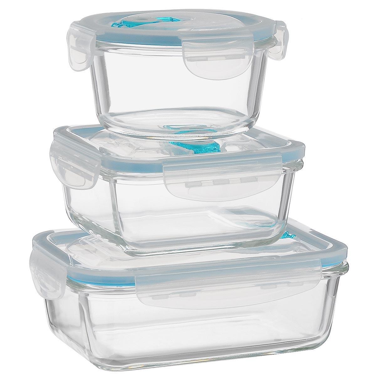 Набор контейнеров для хранения продуктов Darsto, цвет: прозрачный, бирюзовый, 3 шт. 5853A35853A3Набор Darsto состоит из 3 контейнеров разного объема. Изделия выполнены из высококачественного стекла и оснащены вакуумными крышками, которые плотно закрываются, тем самым дольше сохраняя пищу вкусной и свежей. Уникальная технология ClipFresh обеспечивает 100% герметичность и исключает вытекание жидкости. Эстетичность и необыкновенная функциональность набора Darsto позволит ему стать достойным дополнением к вашему кухонному инвентарю. Подходят для использования в микроволновой печи и в посудомоечной машине. Объем контейнеров: 420 мл; 550 мл; 830 мл. Размер контейнеров (с учетом крышек): 13 см х 13 см х 7 см; 14 см х 14 см х 7 см; 19 см х 14 см х 7 см.