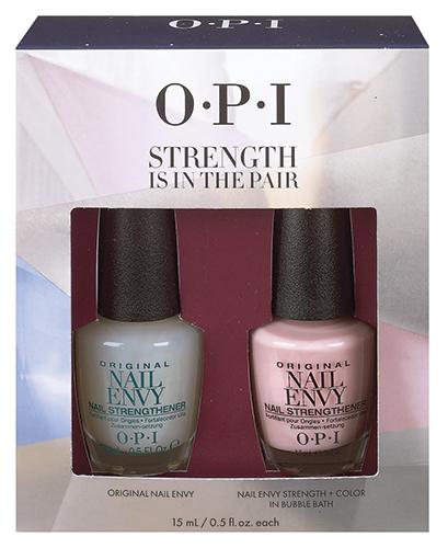 Набор для укрепления ногтей от OPI  Strength in Color (NTT80+NT222)HRG19Промо-набор OPI Strength is in the Pair – полезный и красивый подарок, который заботится о здоровье ногтей! В состав набора входит средство для лечения ногтей Оригинальная формула Nail Envy, а также новый продукт OPI – лечебная формула Nail Envy в цвете, оттенок Bubble Bath!