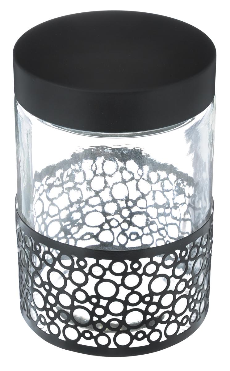 Банка для сыпучих продуктов Bohmann Орнамент, цвет: прозрачный, черный, 1,3 л01342BHG/NEWБанка для сыпучих продуктов Bohmann Орнамент изготовлена из прочного прозрачного стекла. Емкость снабжена металлической крышкой, которая плотно и герметично закрывается, дольше сохраняя аромат и свежесть содержимого. Банка декорирована металлическим ободом в виде орнамента. Изделие предназначено для хранения различных сыпучих продуктов: круп, чая, сахара, орехов и многого другого. Функциональная и вместительная, такая банка станет незаменимым аксессуаром на любой кухне. Диаметр (по верхнему краю): 10 см. Высота (без учета крышки): 17 см.