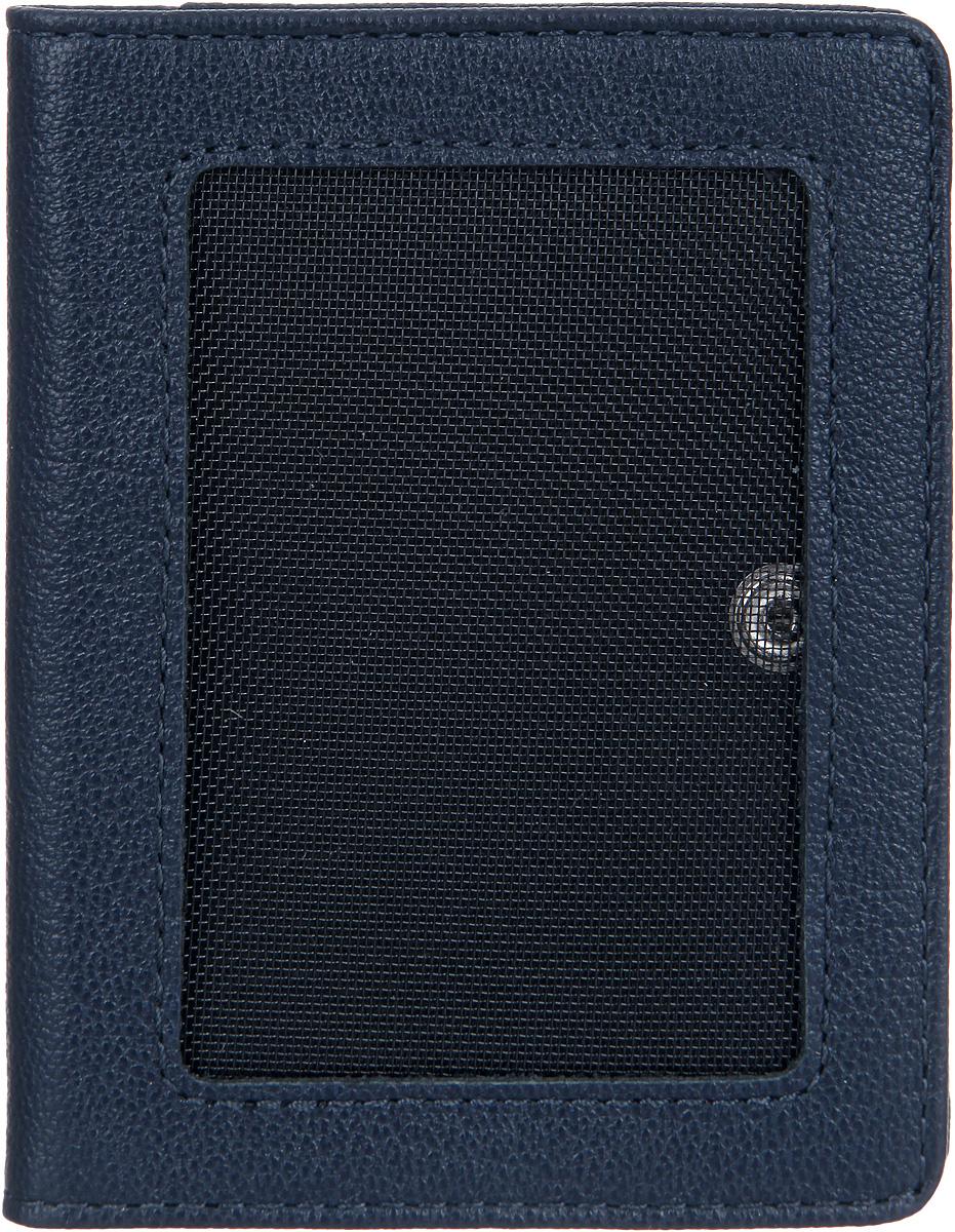 Портмоне мужское Fabula Largo, цвет: темно-синий. PM.50.LGPM.50.LGКомпактное мужское портмоне Fabula Largo выполнено из натуральной кожи с зернистой фактурой и оформлено тиснением с символикой бренда. Изделие раскладывается пополам и закрывается на кнопку. Портмоне внутри содержит три накладных кармашка для визиток и два боковых кармана с сетчатым окошком, снаружи, на задней стороне портмоне, расположен накладной боковой карман. Изделие поставляется в фирменной упаковке. Стильное портмоне Fabula Largo станет отличным подарком для человека, ценящего качественные и практичные вещи.