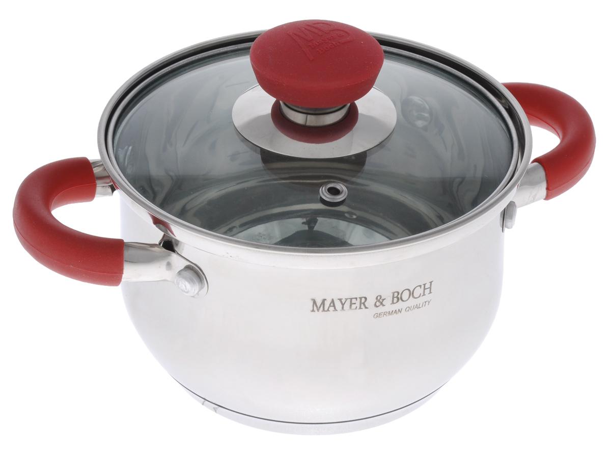 Кастрюля Mayer & Boch с крышкой, 1,5 л. 2236822368Кастрюля Mayer & Boch изготовлена из высококачественной нержавеющей стали с термоаккумулирующим дном. Нержавеющая сталь обладает высокой устойчивостью к коррозии, не вступает в реакцию с холодными и горячими продуктами и полностью сохраняет их вкусовые качества. Особая конструкция дна способствует высокой теплопроводности и равномерному распределению тепла. Материал удерживает тепло по всей поверхности изделия, благодаря чему пища равномерно и быстро нагревается. Посуда идеальна для приготовления здоровой пищи с минимальным количеством жира, что обеспечивает снижение потери полезных витаминов, минеральных веществ и сохраняет аромат приготовленных блюд. Посуда очень удобна в использовании, практична и элегантна. Ручки оснащены силиконовой накладкой, не перегреваются во время приготовления пищи. Крышка выполнена из термостойкого стекла, имеет металлический ободок и отверстие для выпуска пара, стекло позволит наблюдать за процессом приготовления пищи. За посудой...